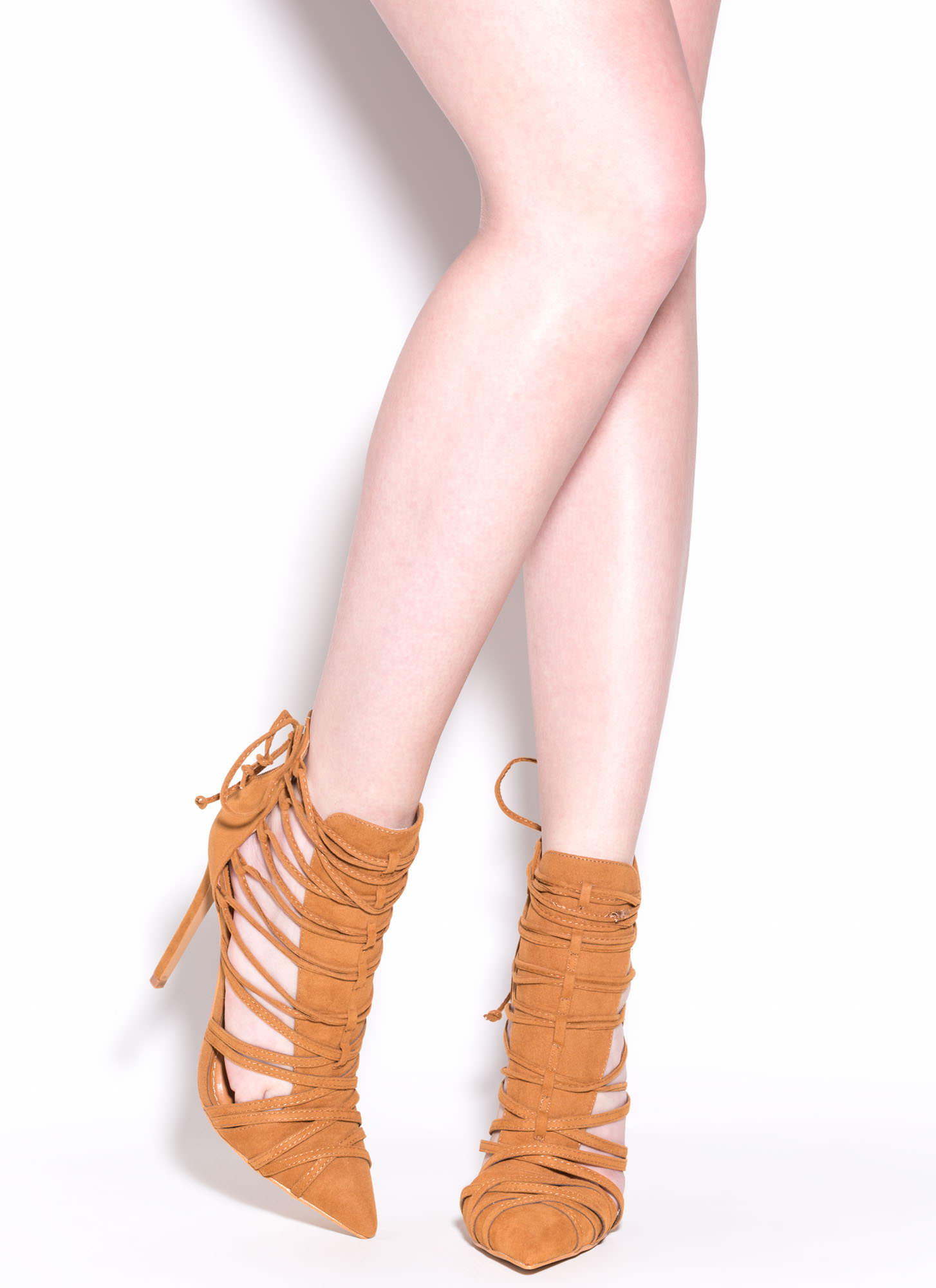 Wrap It Good Pointy Lace-Up Heels CHESTNUT