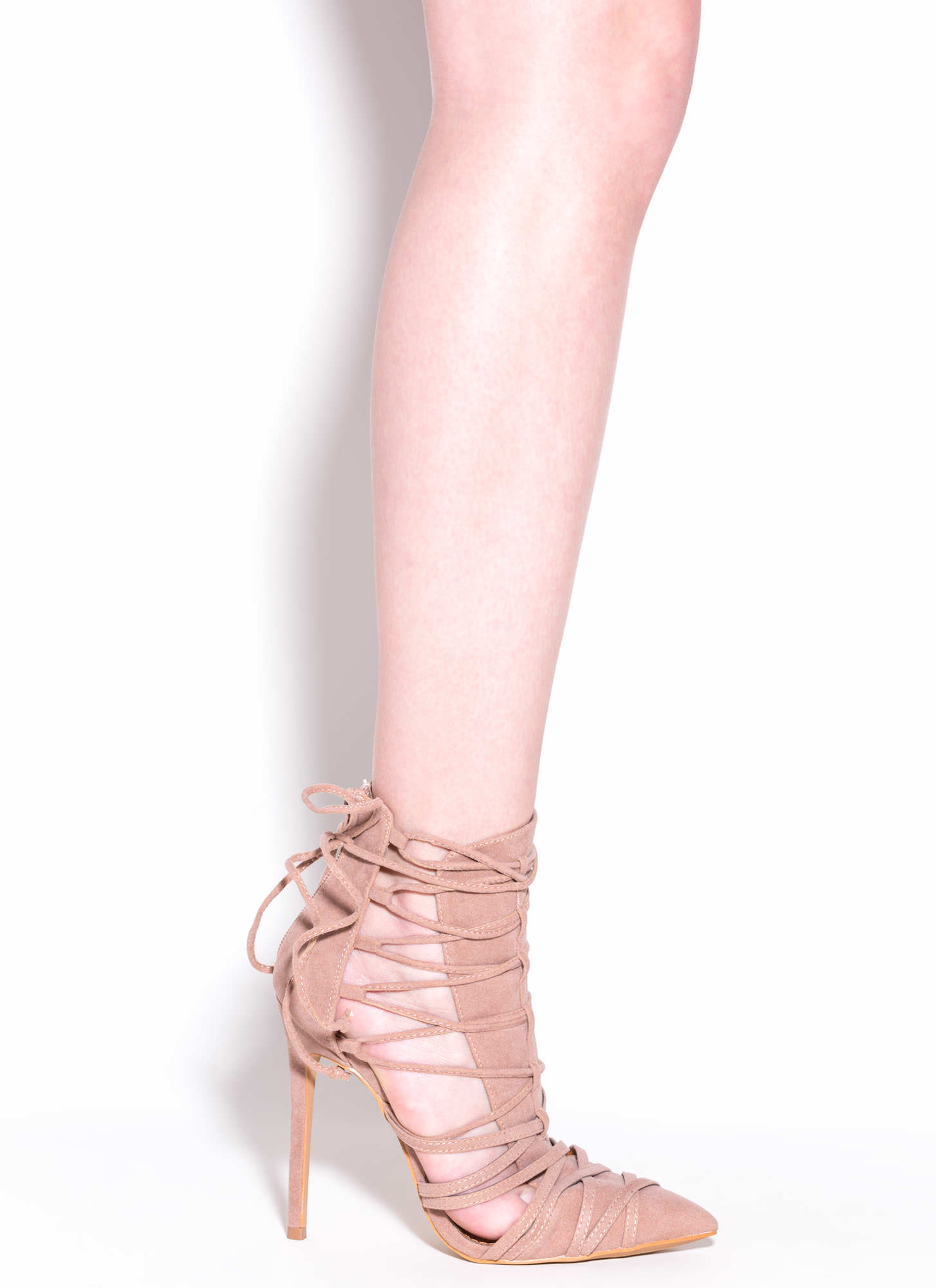Wrap It Good Pointy Lace-Up Heels TAUPE