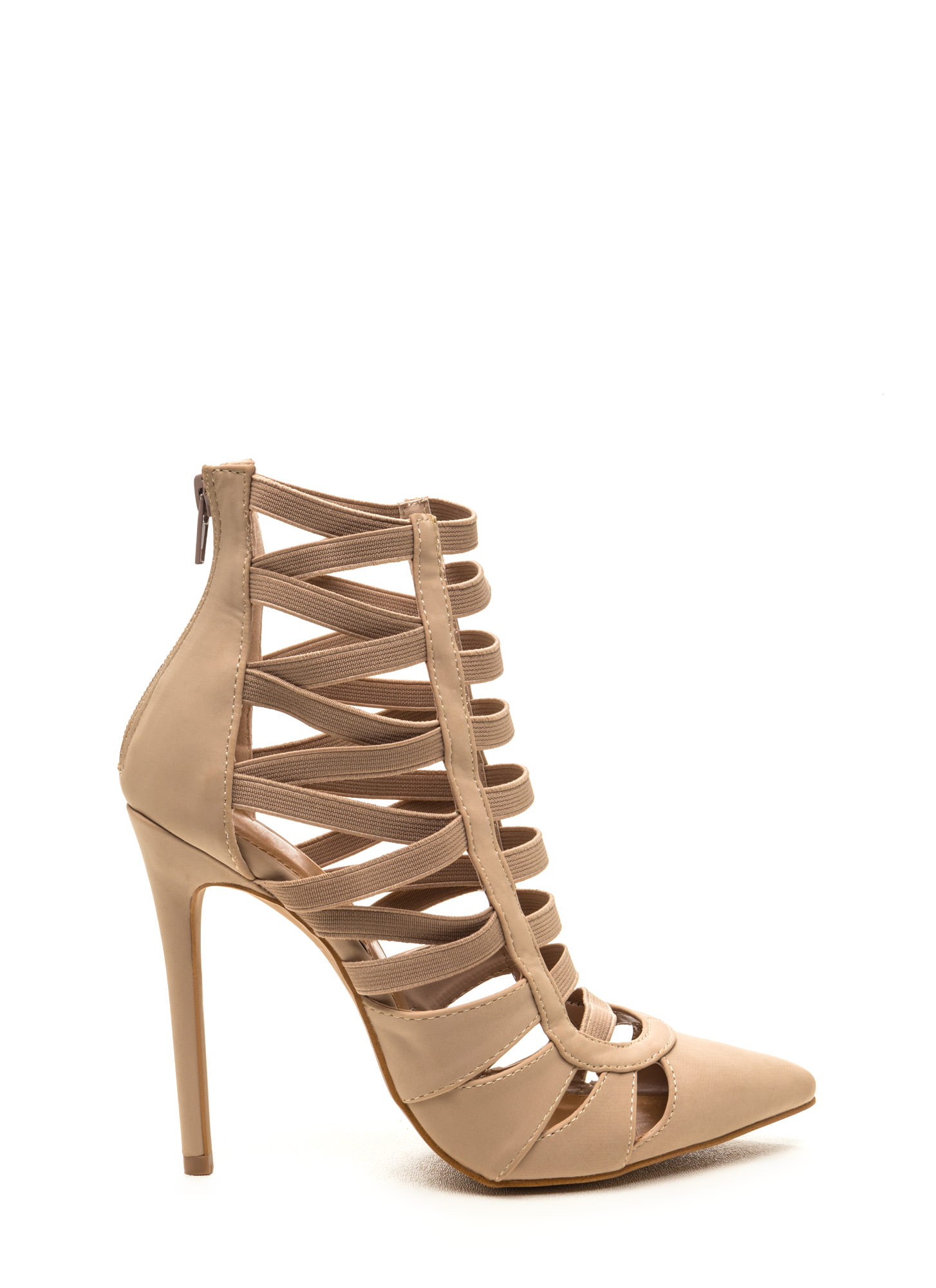 Let's Vent Pointy Caged Cut-Out Heels TAUPE