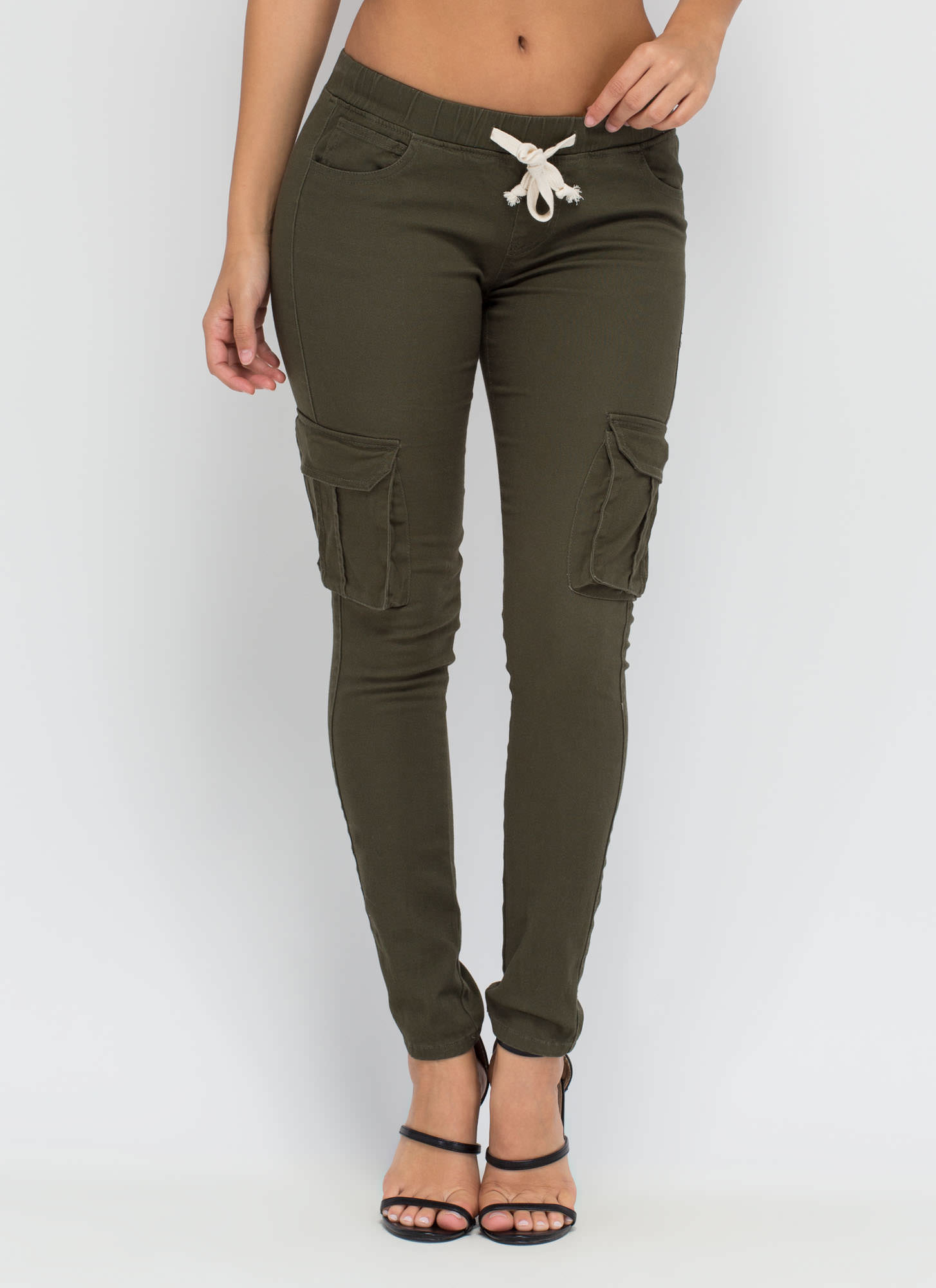 Street Chic Twill Cargo Joggers OLIVE