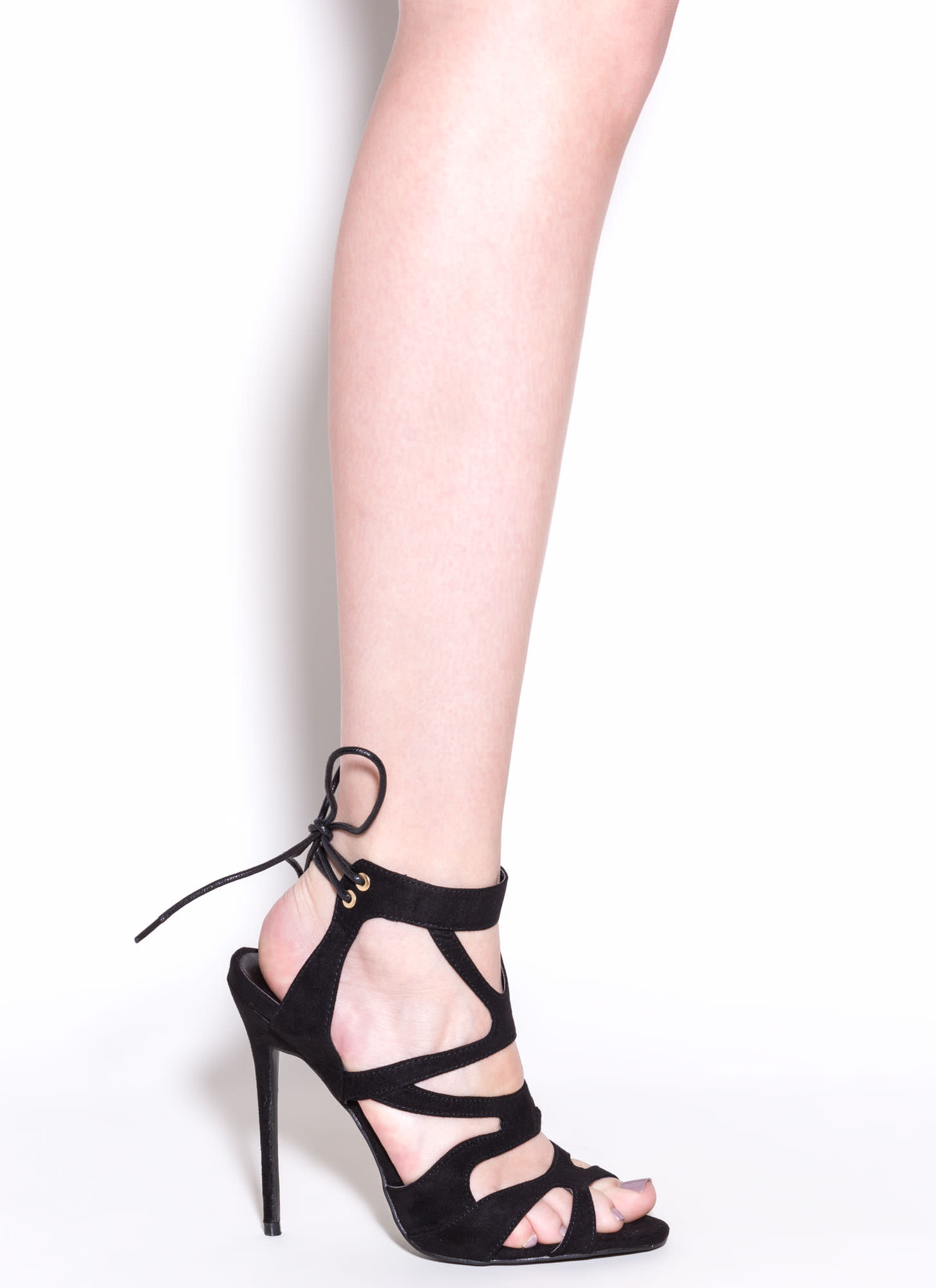 Thin Is In Caged Stiletto Heels BLACK