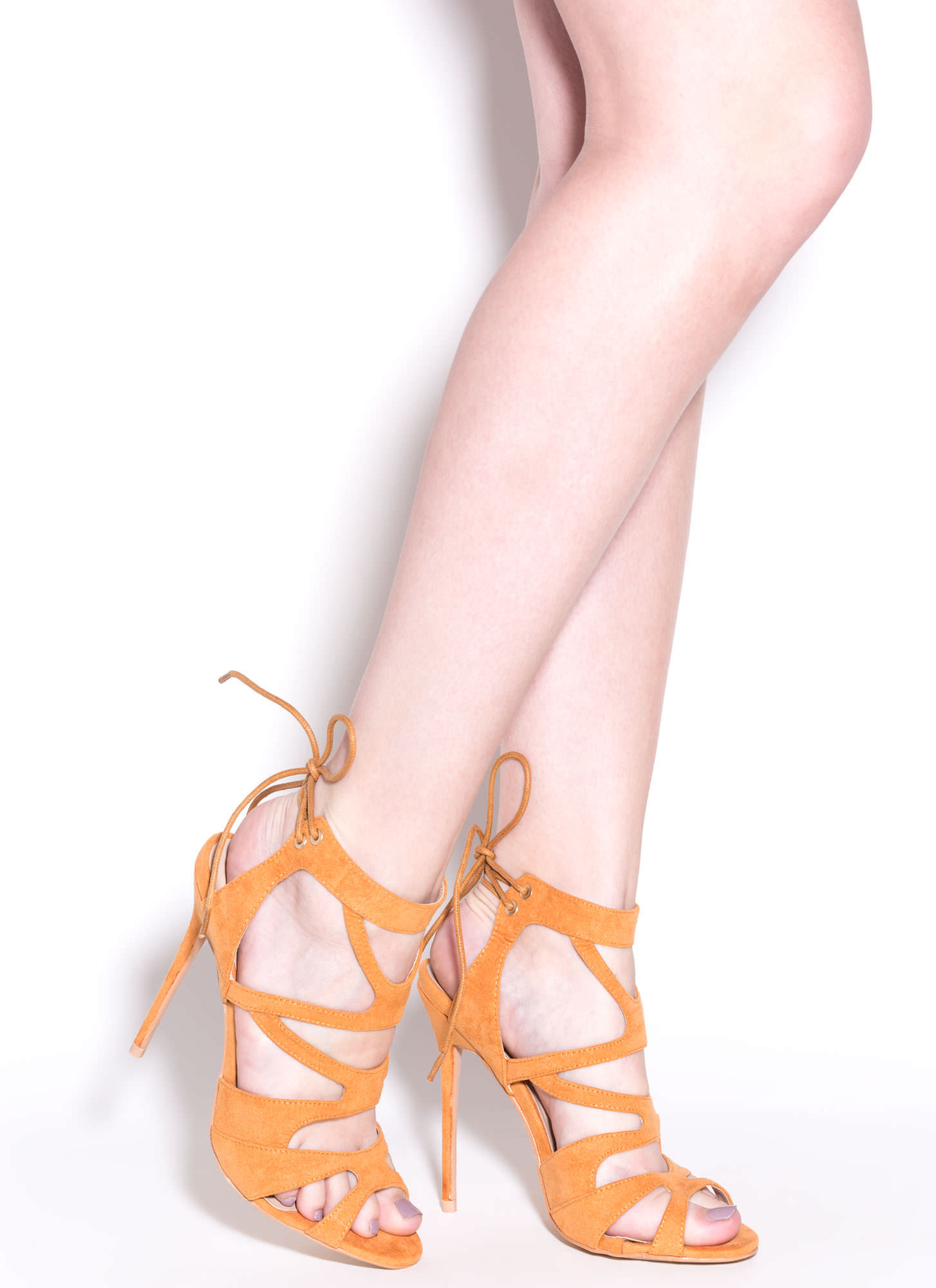 Thin Is In Caged Stiletto Heels CAMEL