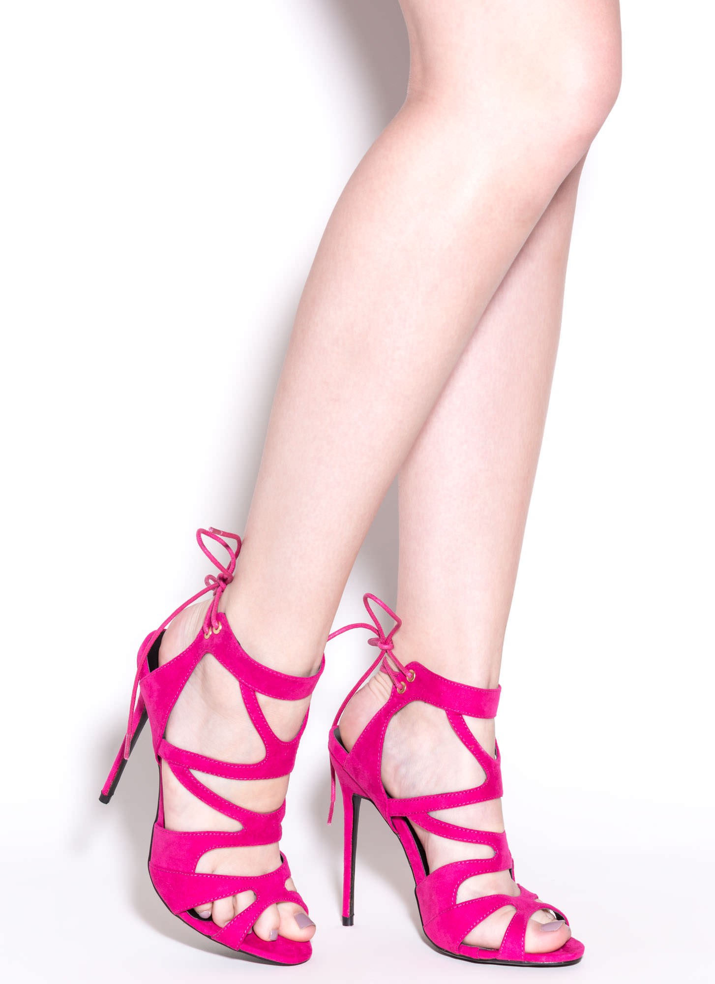 Thin Is In Caged Stiletto Heels FUCHSIA