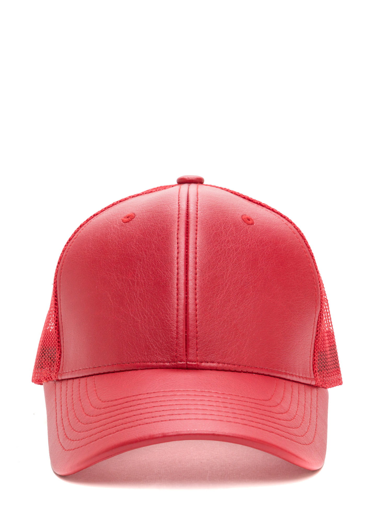 Cap Me Off Faux Leather Trucker Hat RED