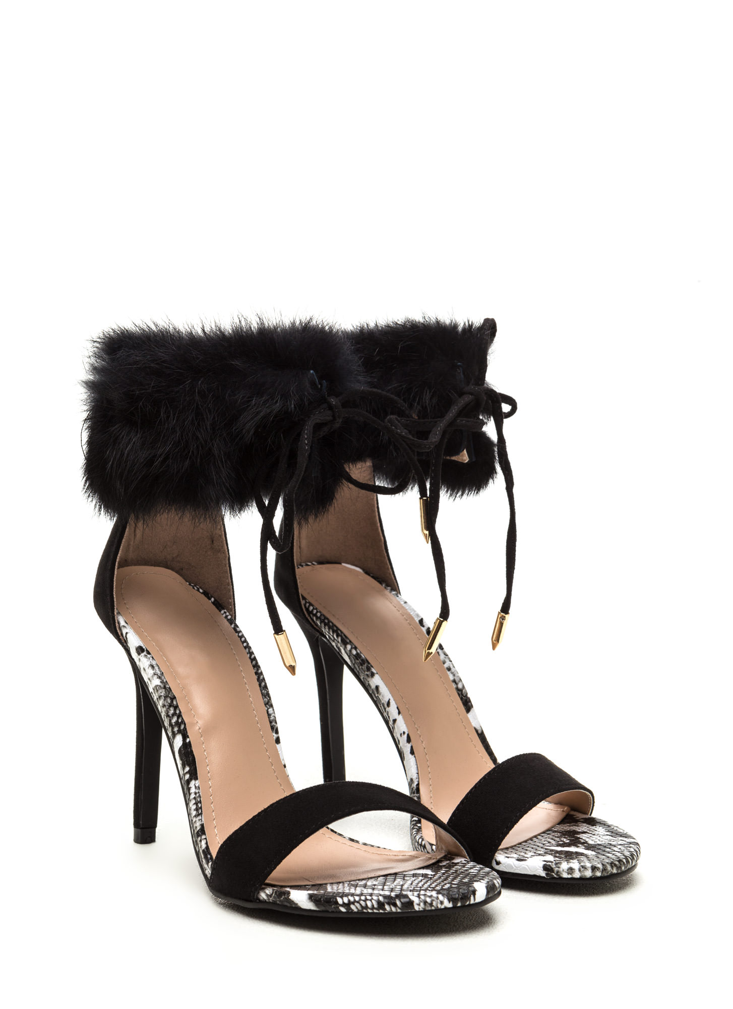Faux Fur Sure Snakeskin Lace-Up Heels BLACK