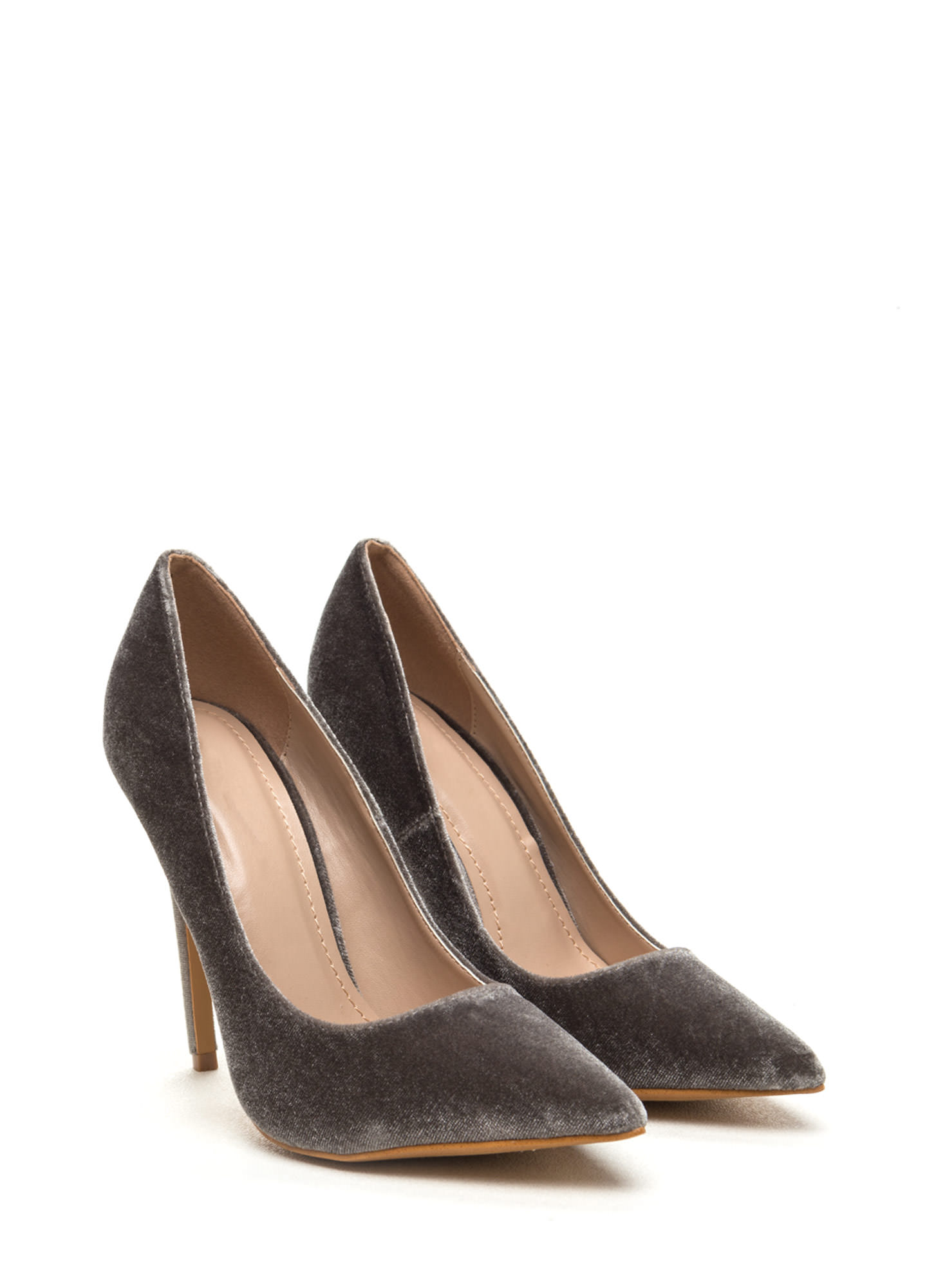Velvet Sophisticate Pointy Pumps GREY