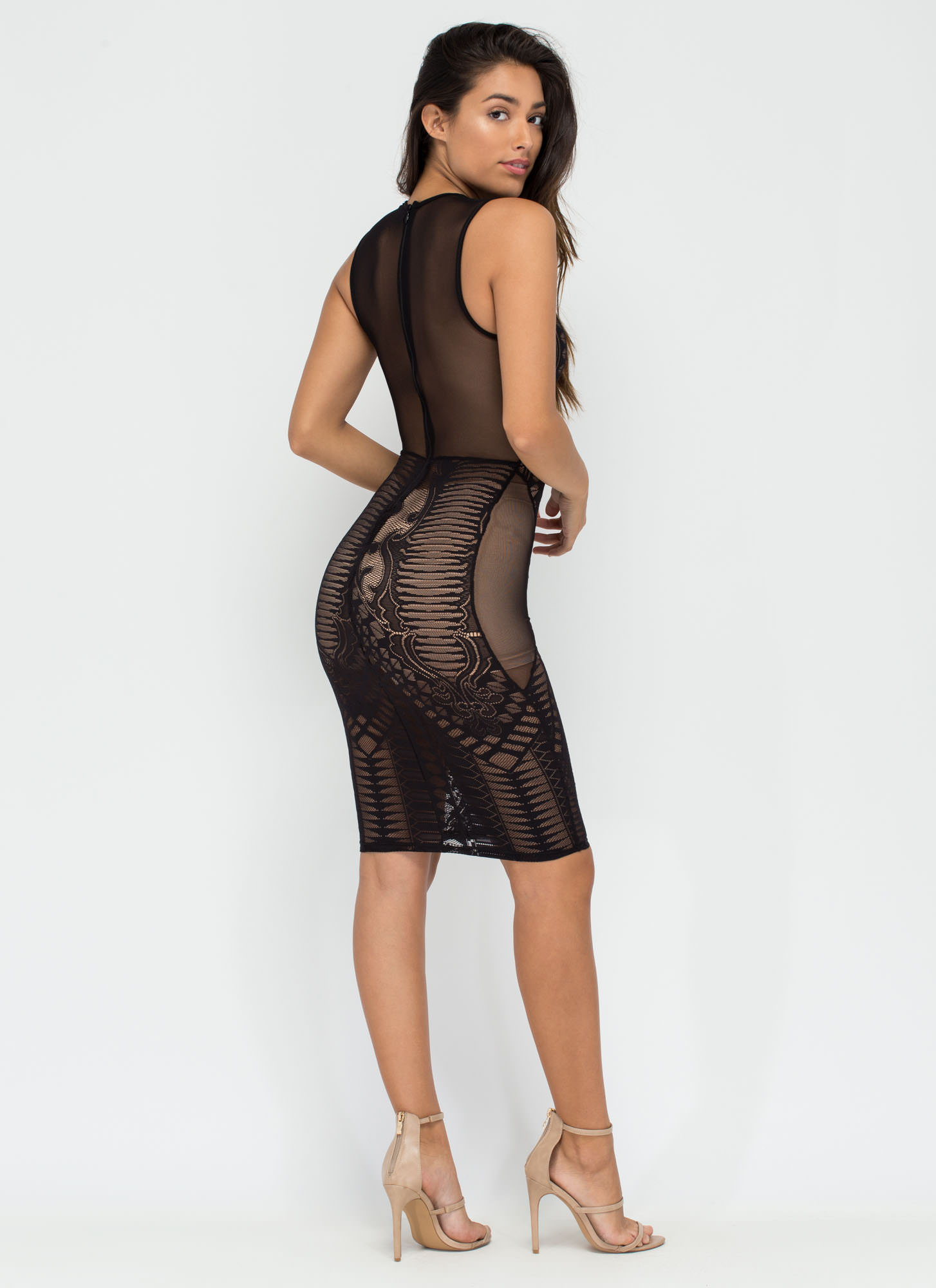 Sheer Or There Lace 'N Mesh Bodycon Dress BLACK