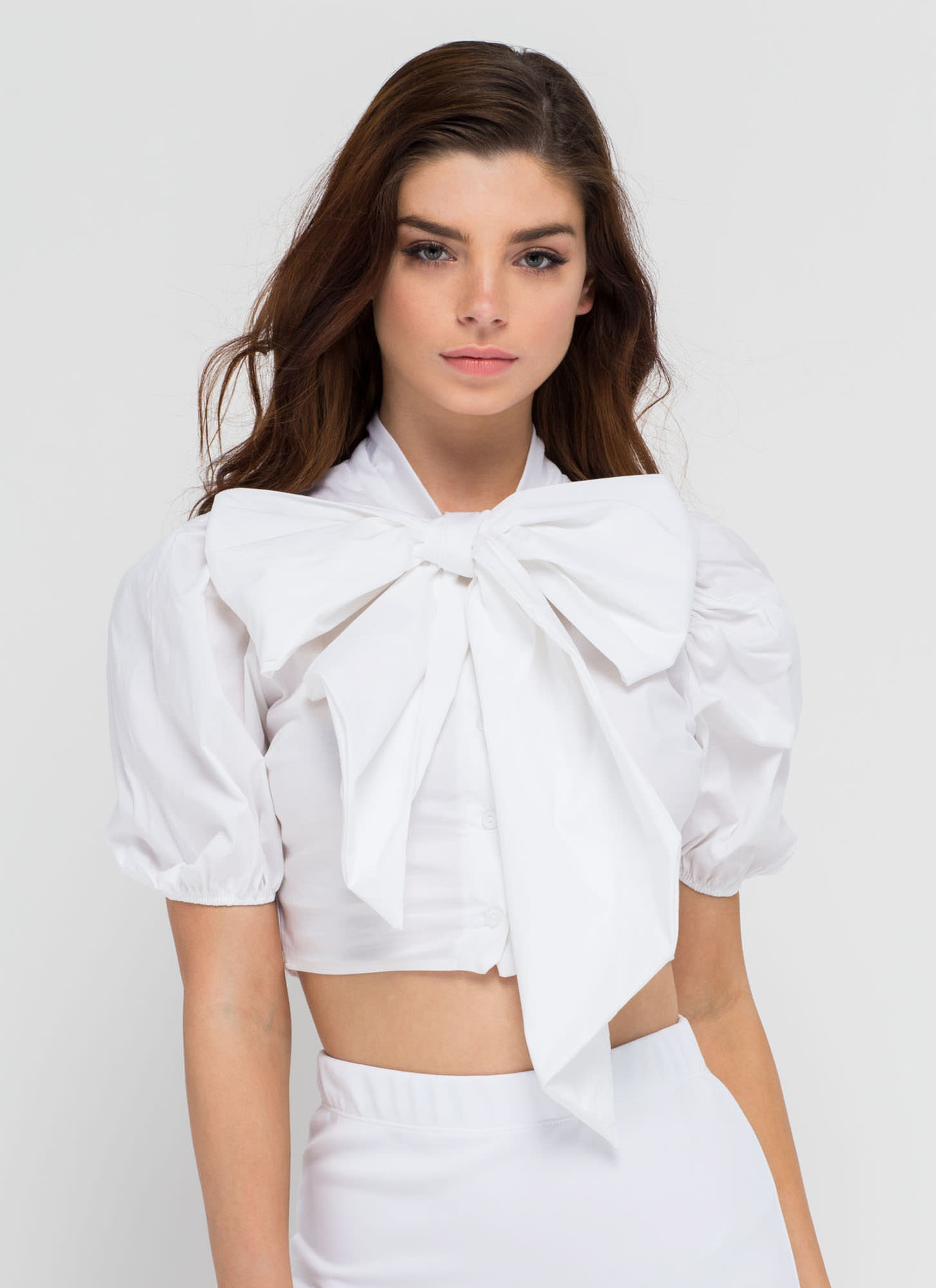 Bow My Goodness Puff Sleeve Crop Top WHITE