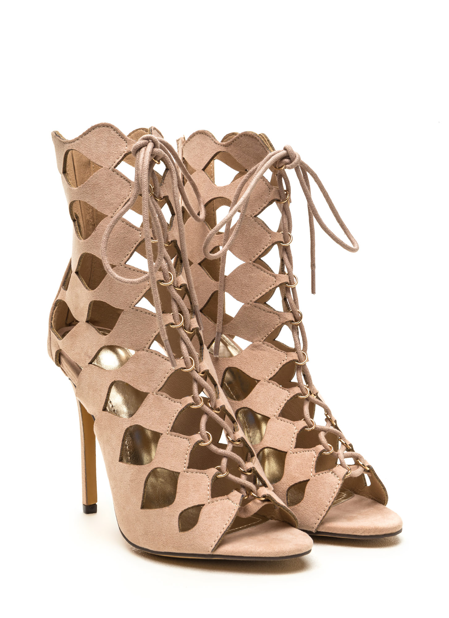 Chic Exposure Caged Cut-Out Heels NUDE (Final Sale)