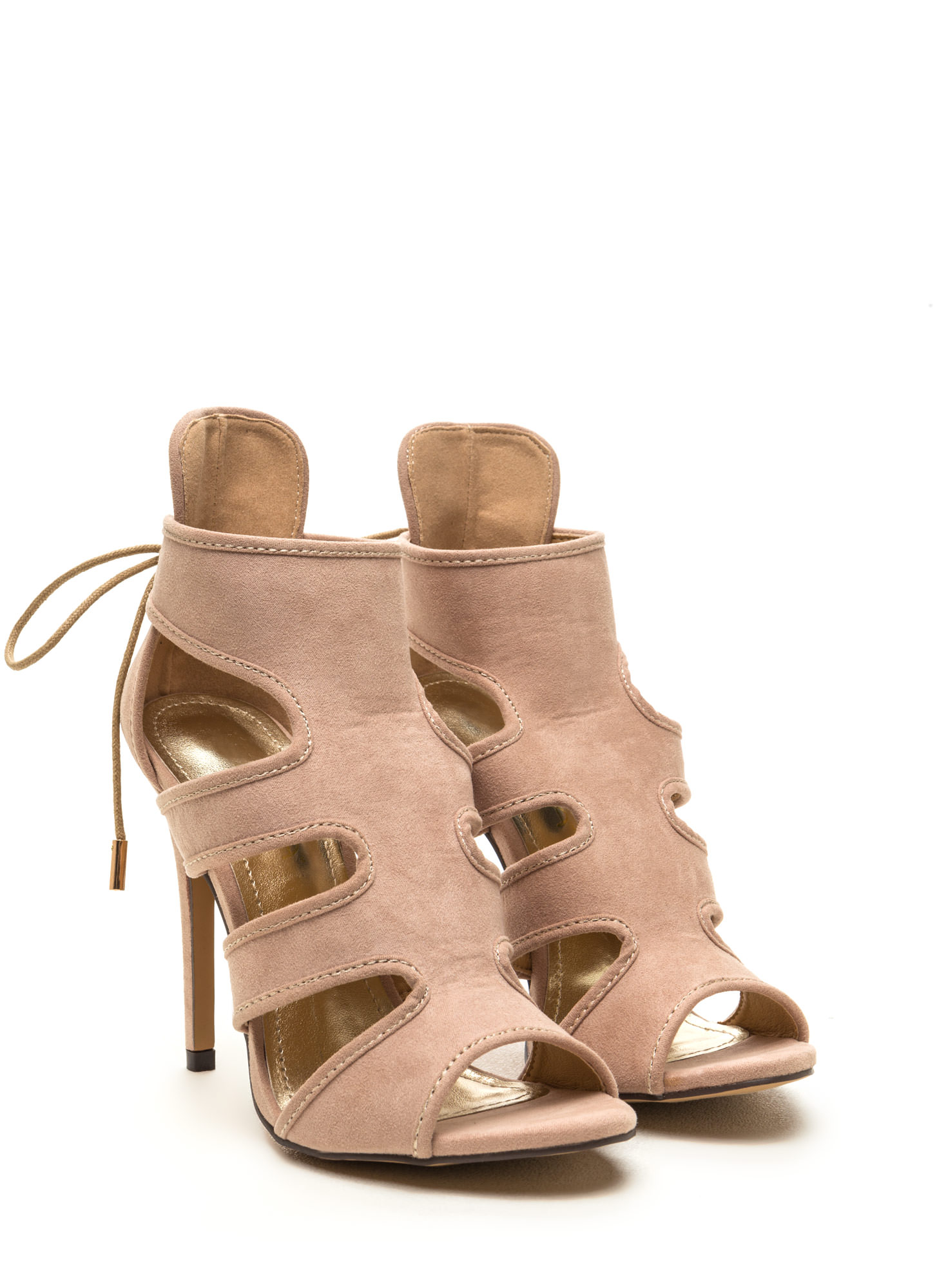 Around Town Caged Faux Suede Heels NUDE