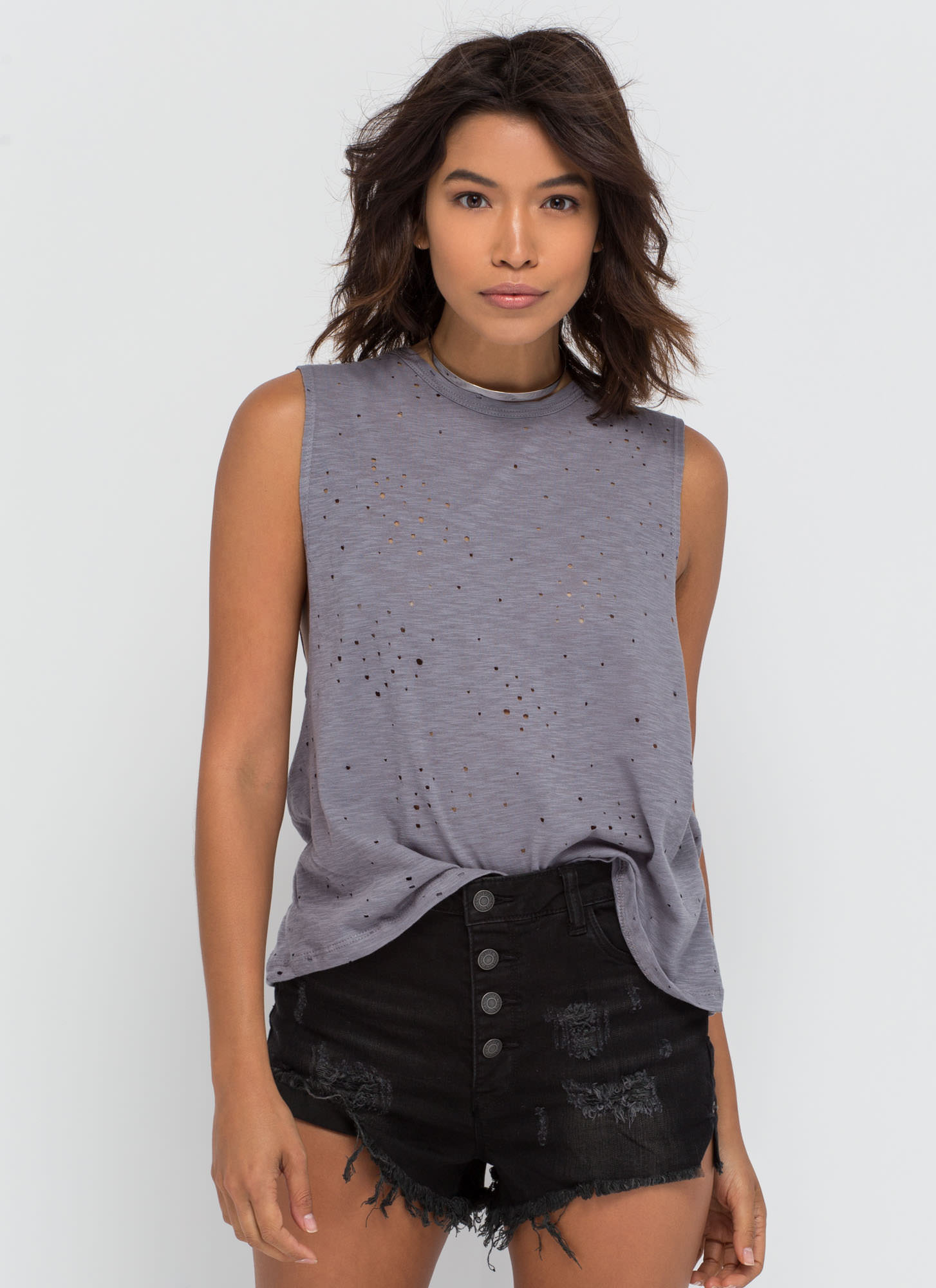 Holey Night Distressed Muscle Tee GREY