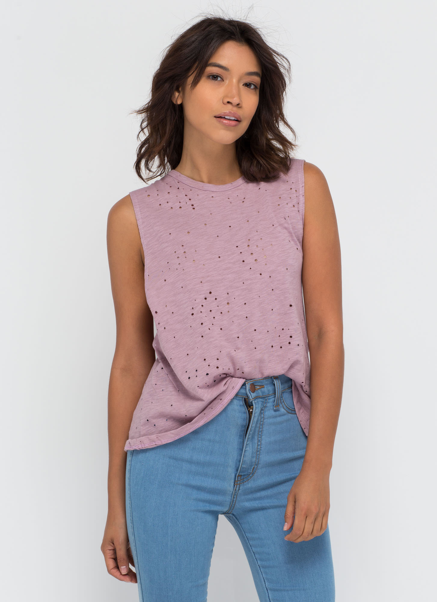 Holey Night Distressed Muscle Tee MAUVE