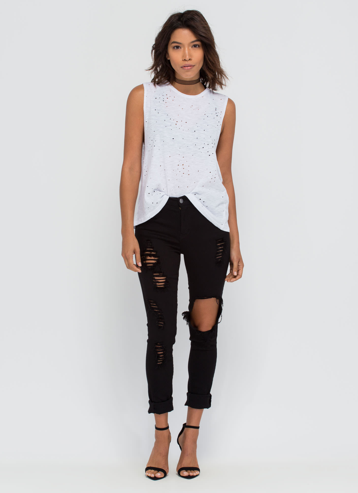 Holey Night Distressed Muscle Tee WHITE