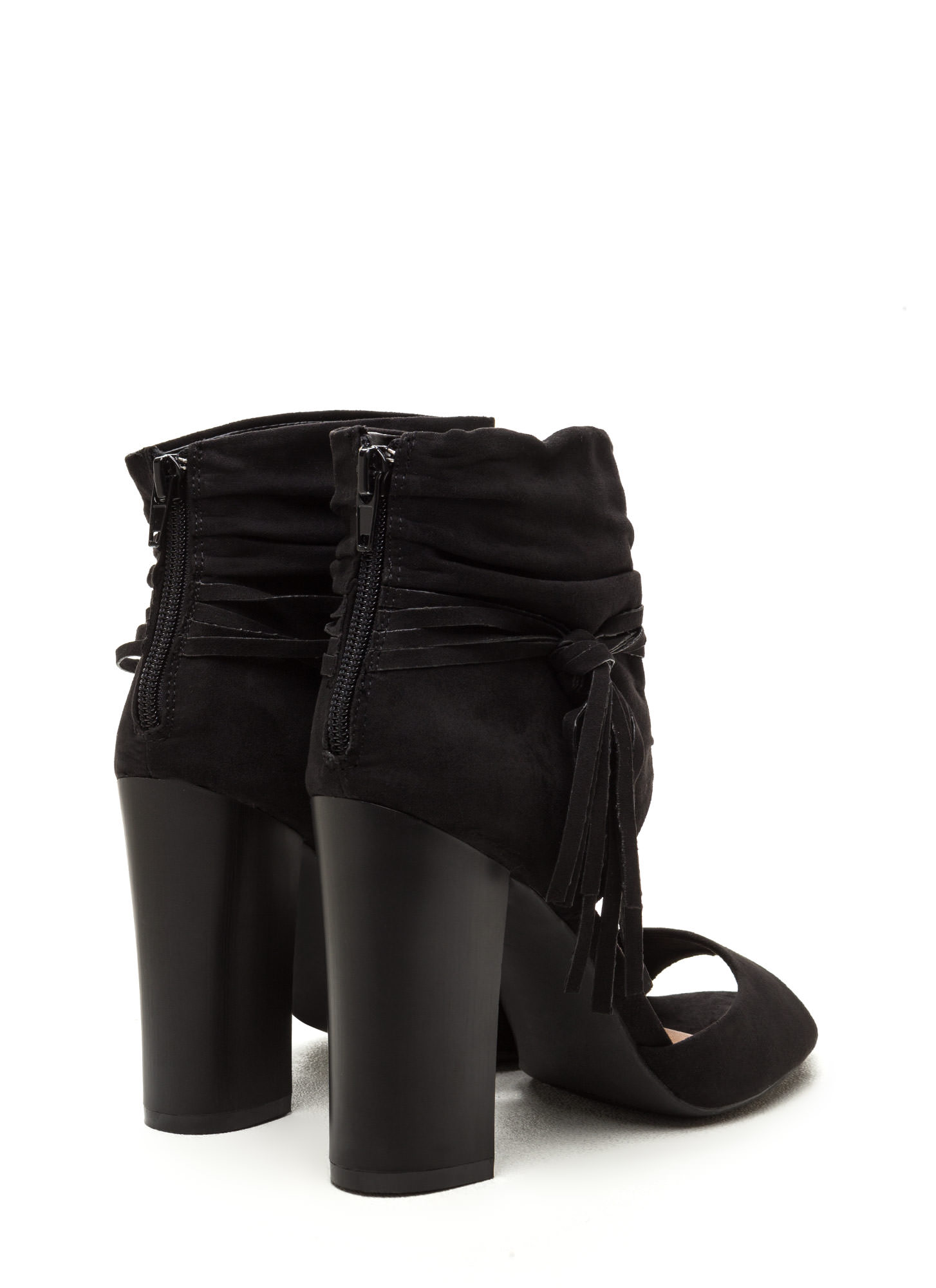 Tassel Takeover Slouchy Faux Suede Heels BLACK