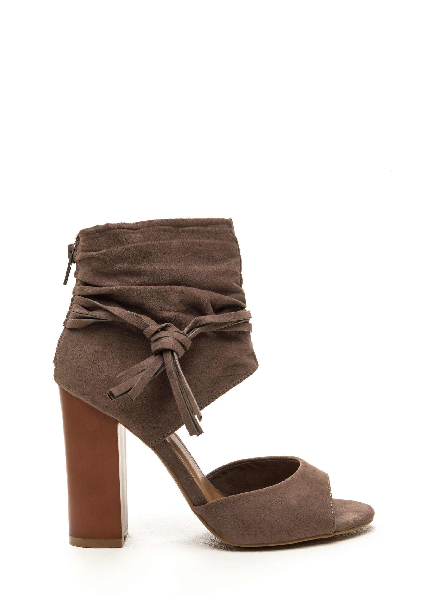 Tassel Takeover Slouchy Faux Suede Heels TAUPE