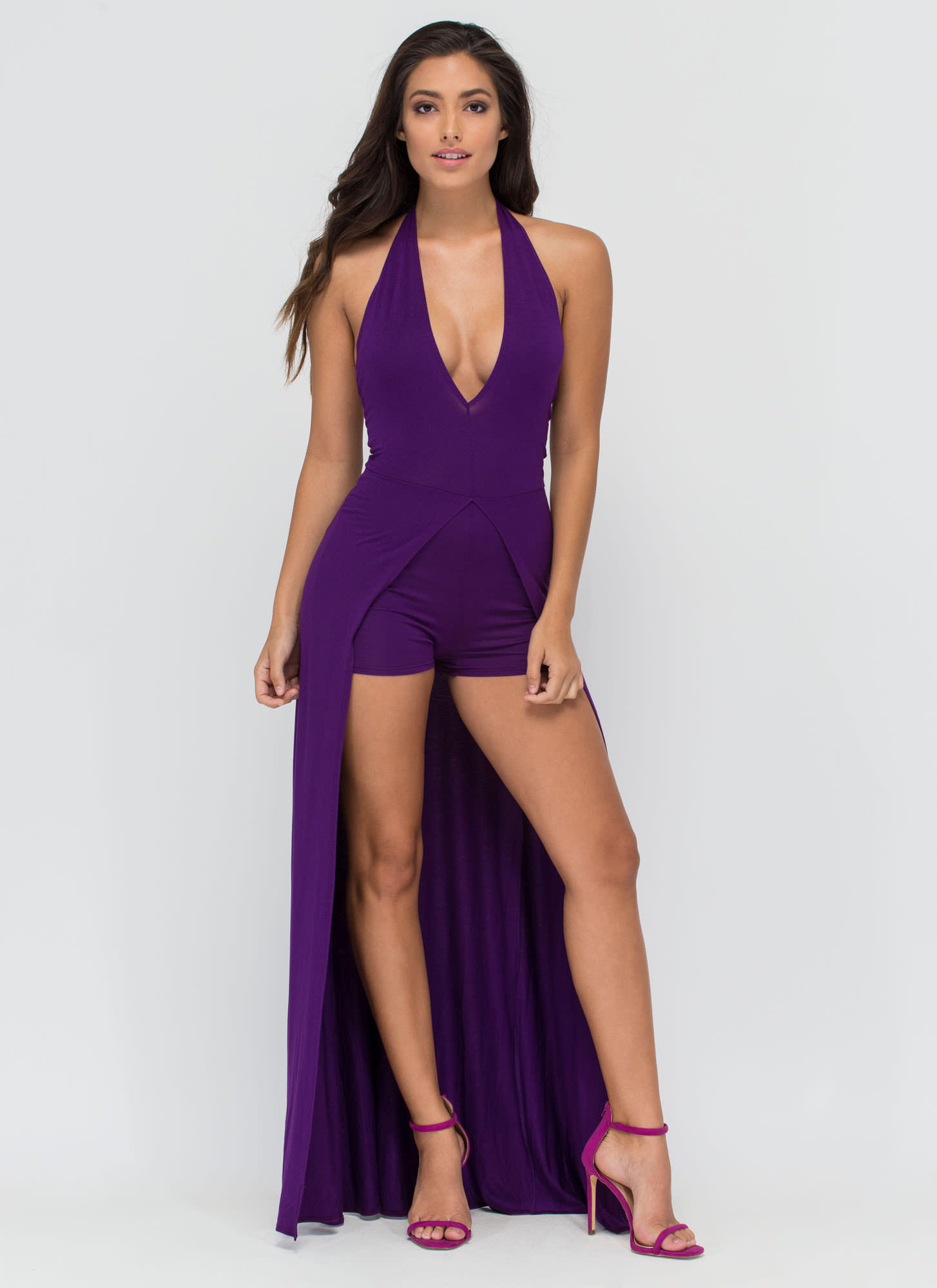 Sweeping Victory Plunging Halter Maxi PURPLE