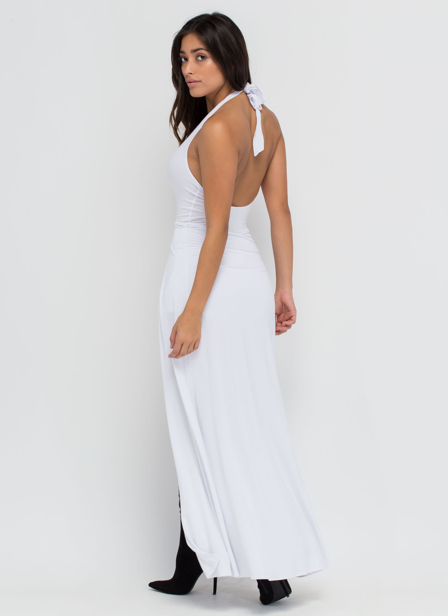 Sweeping Victory Plunging Halter Maxi WHITE