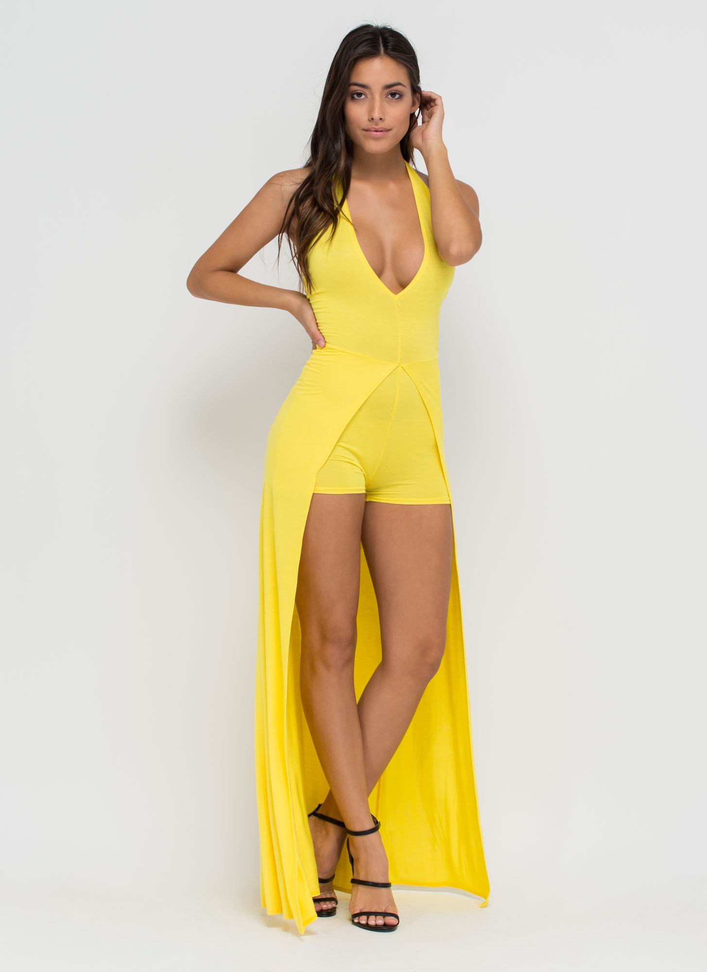 Sweeping Victory Plunging Halter Maxi YELLOW