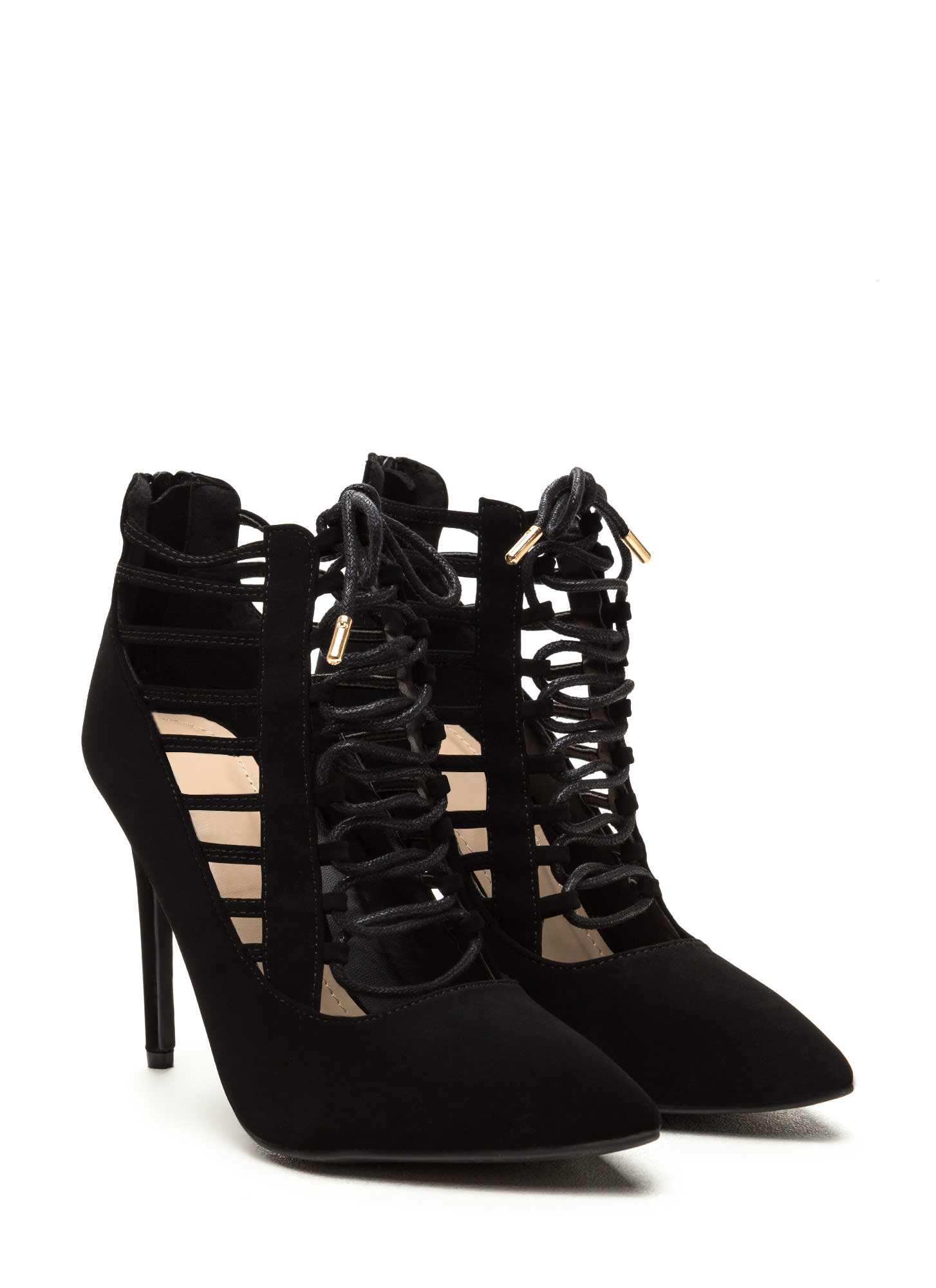 Special E-Vent Pointy Lace-Up Heels BLACK
