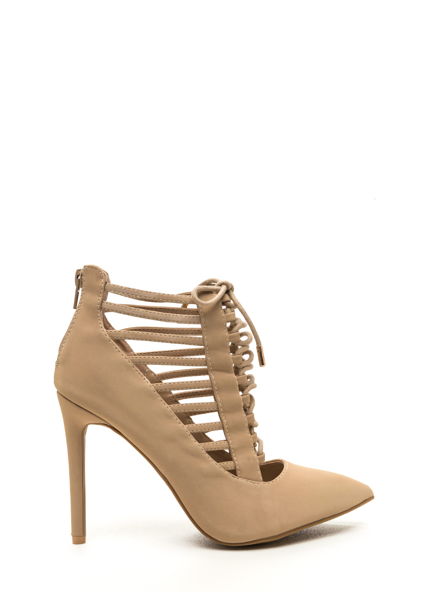 Special E-Vent Pointy Lace-Up Heels NUDE