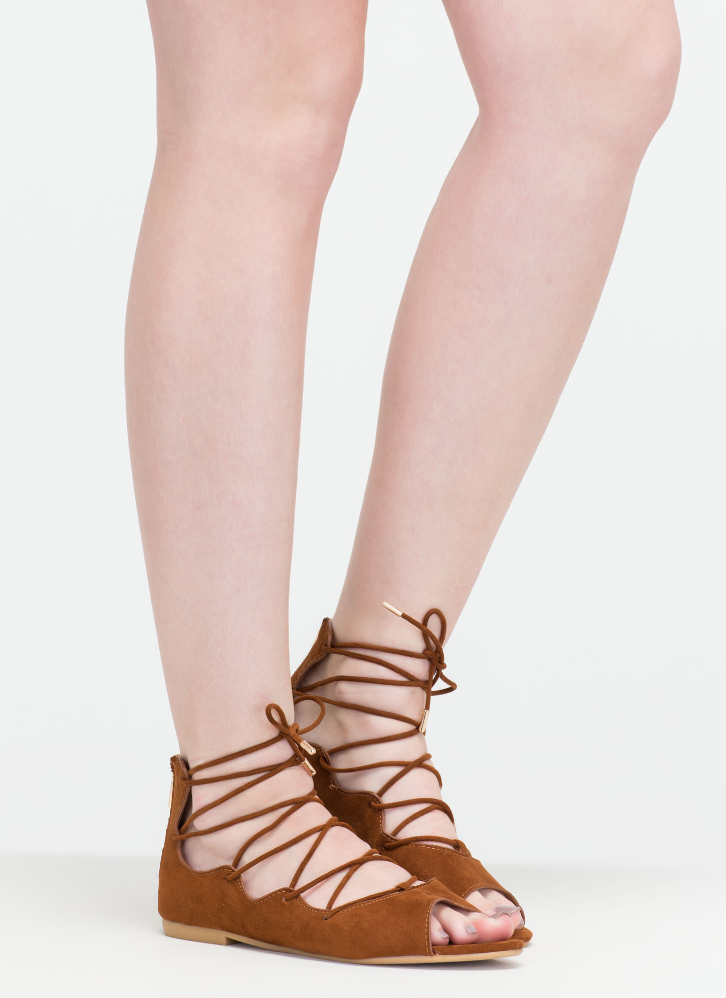 Ride The Wave Pointy Lace-Up Flats COGNAC