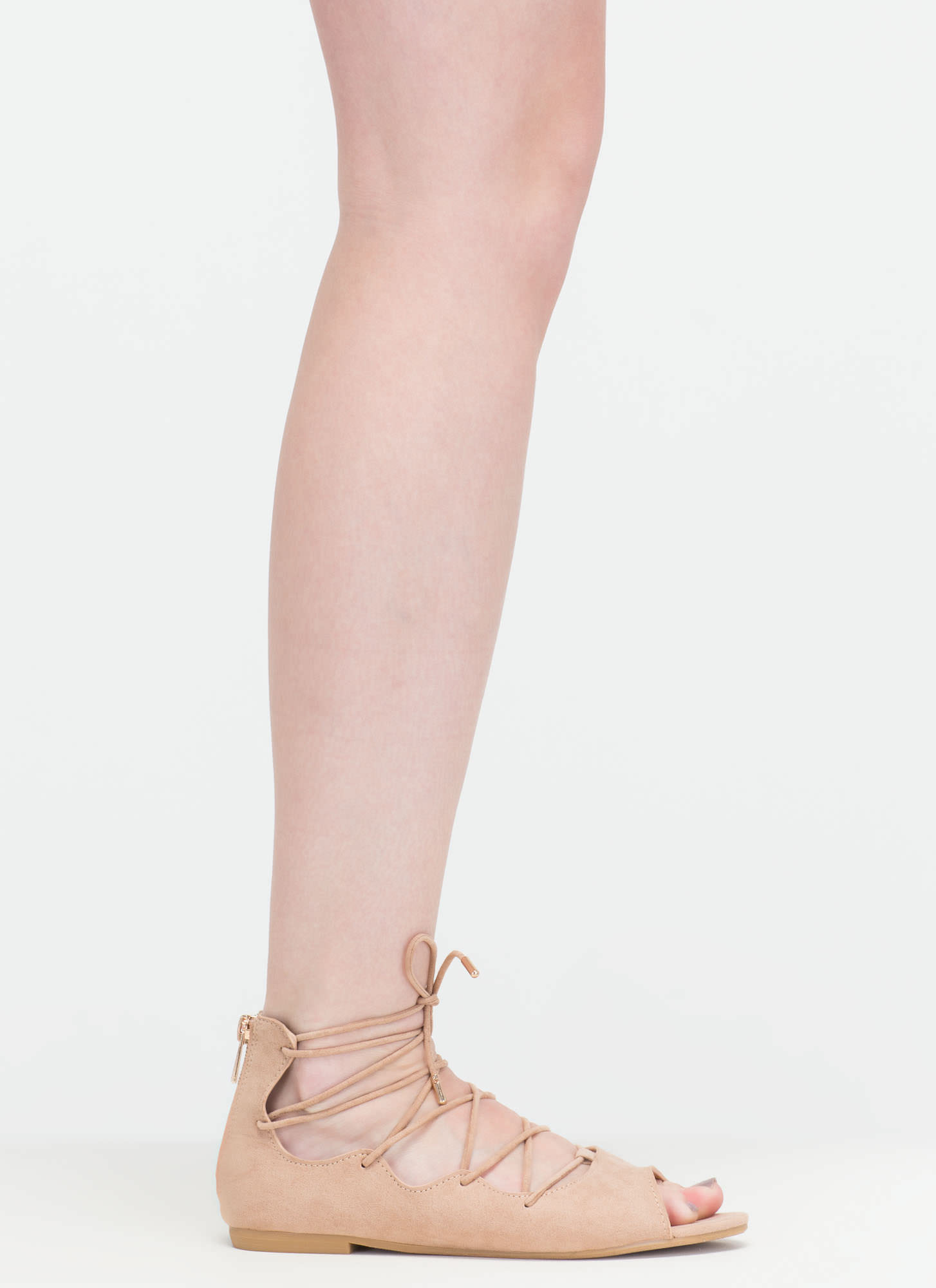 Ride The Wave Pointy Lace-Up Flats NUDE