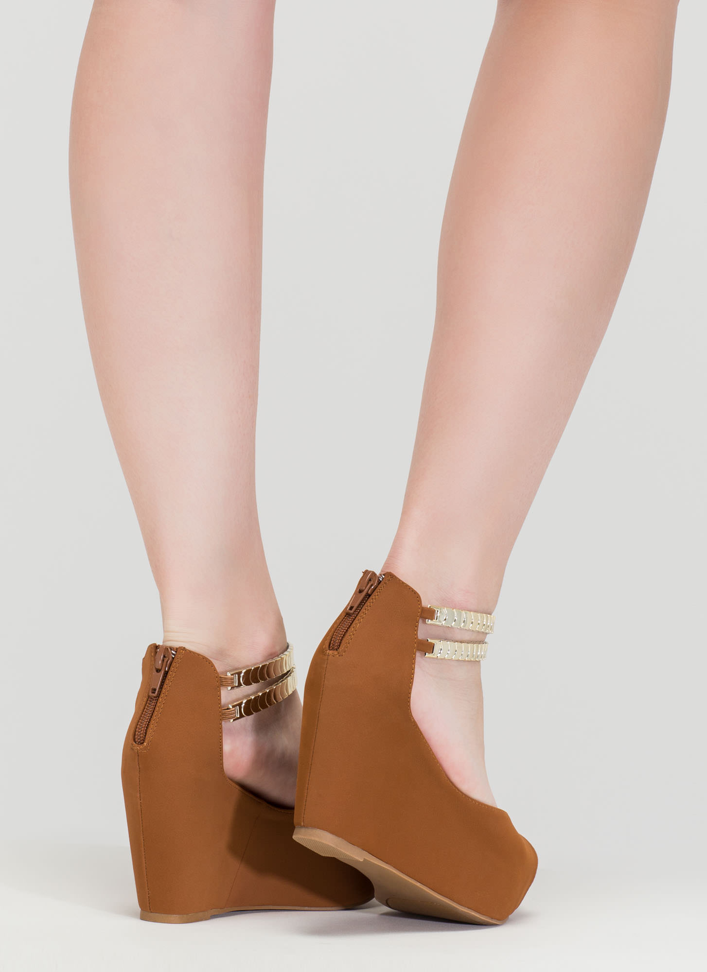 Moons Over My Faux Nubuck Wedges CHESTNUT