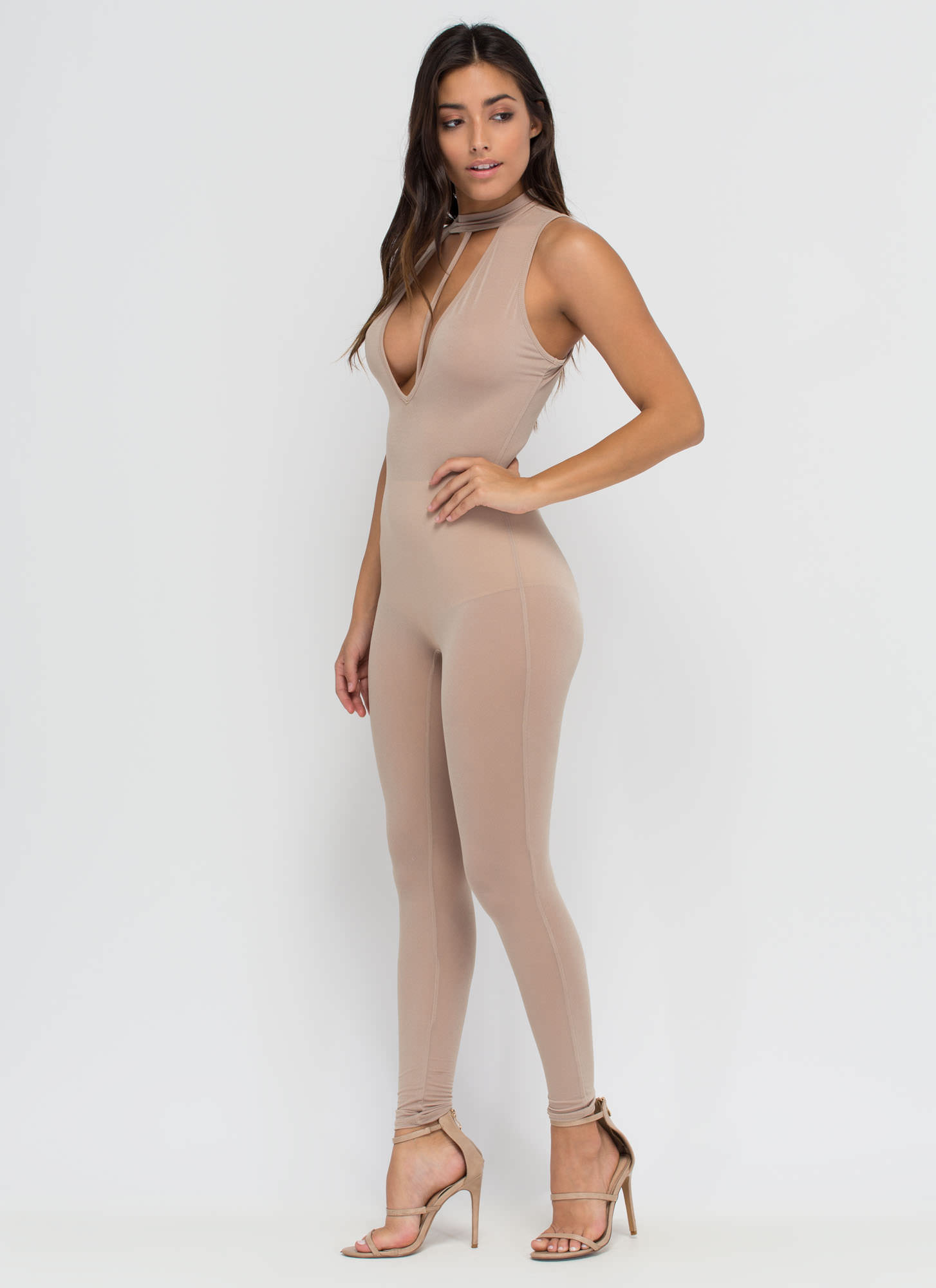 Hearts Race Sheer Cut-Out Jumpsuit TAUPE