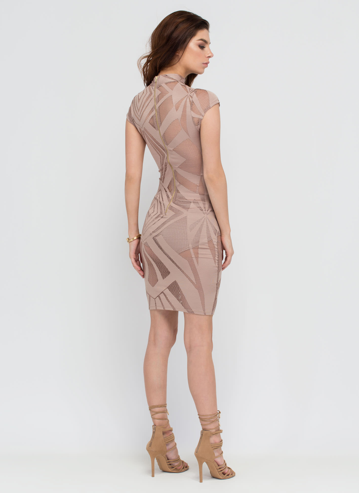 Hit Or Mesh Net Inset Bodycon Dress TAUPE