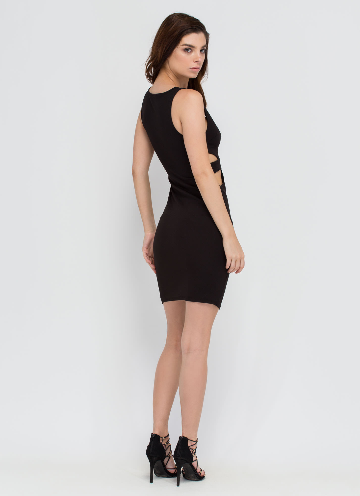 Center Stage Strappy Cut-Out Dress BLACK
