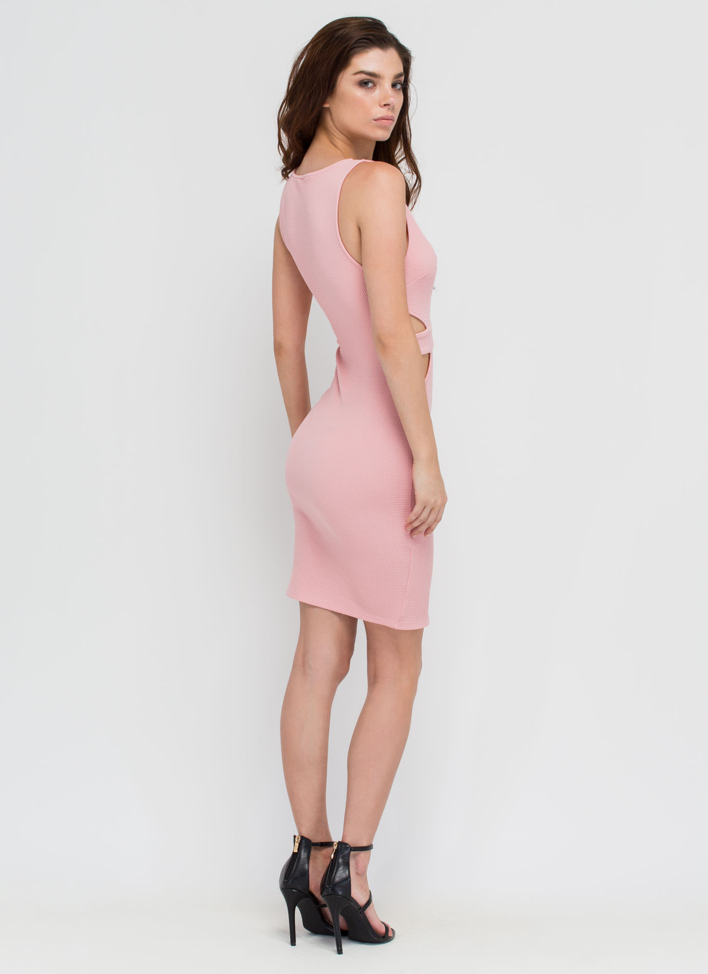 Center Stage Strappy Cut-Out Dress BLUSH