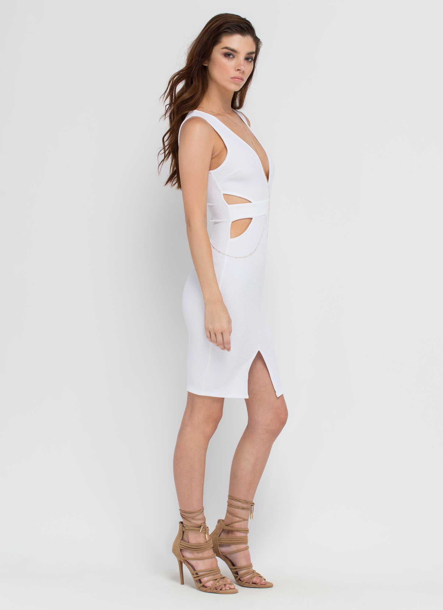 Center Stage Strappy Cut-Out Dress WHITE
