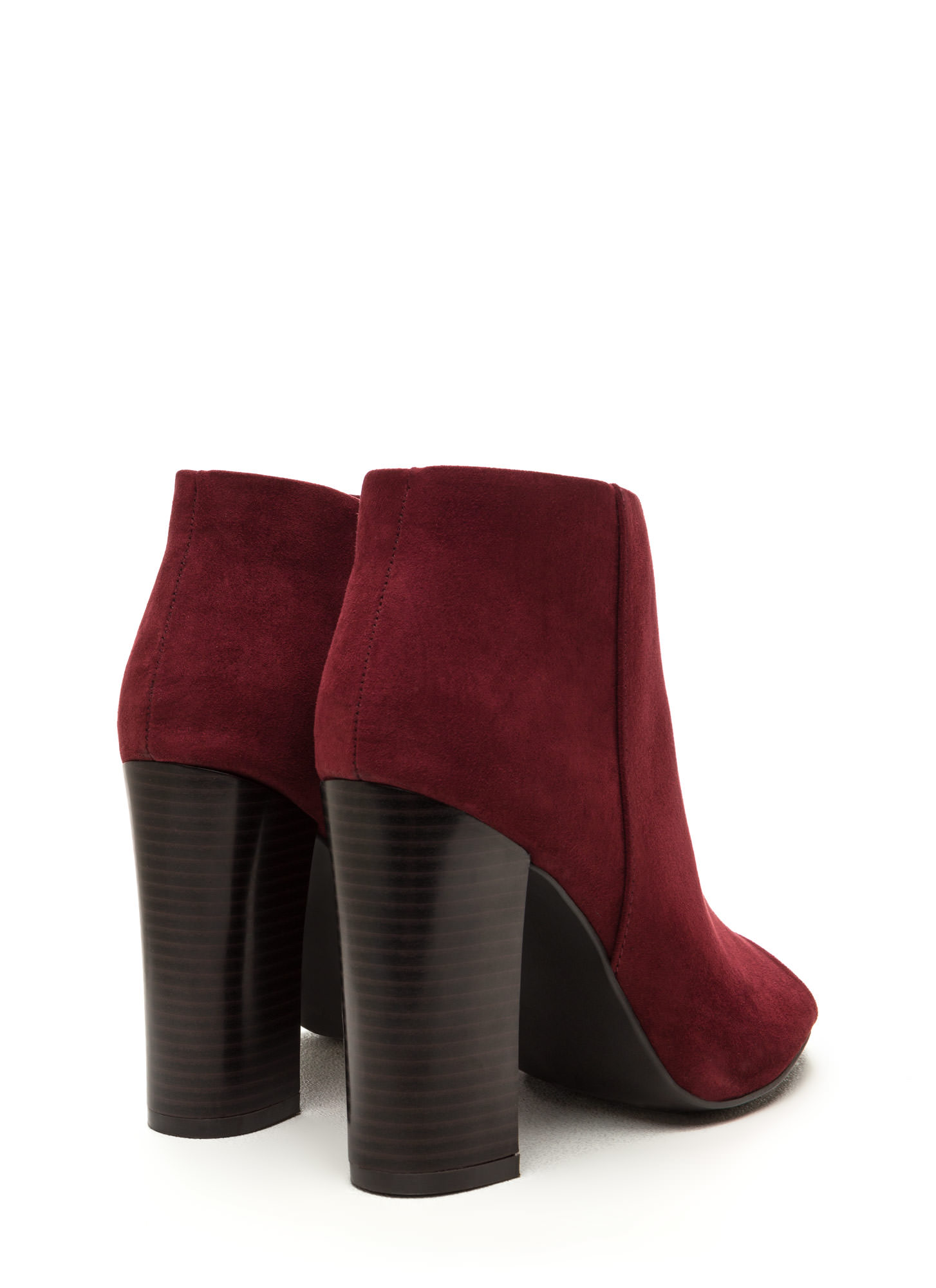 Not A Peep Faux Nubuck Booties BURGUNDY