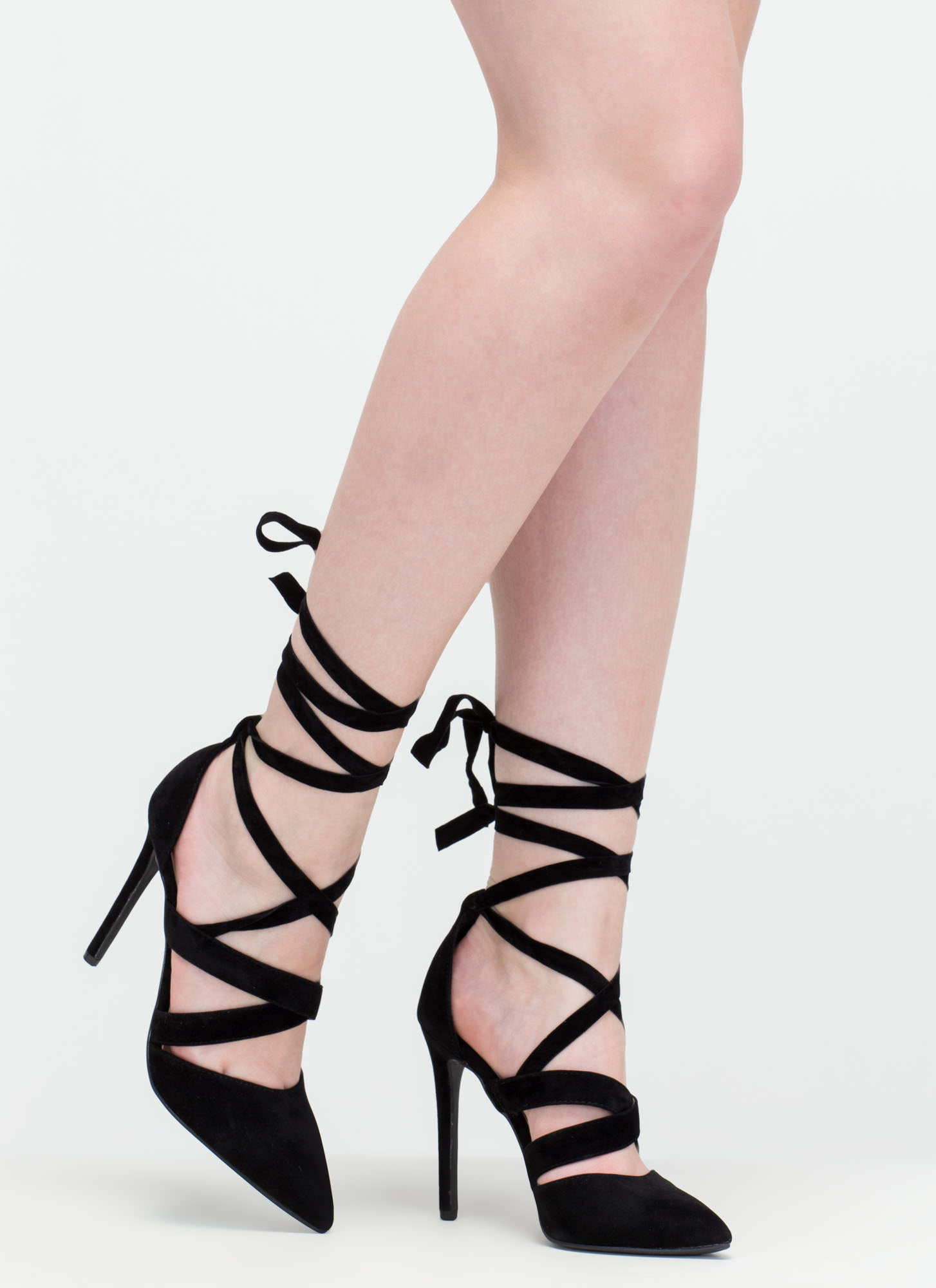 Lace-Up To You Faux Suede Heels BLACK