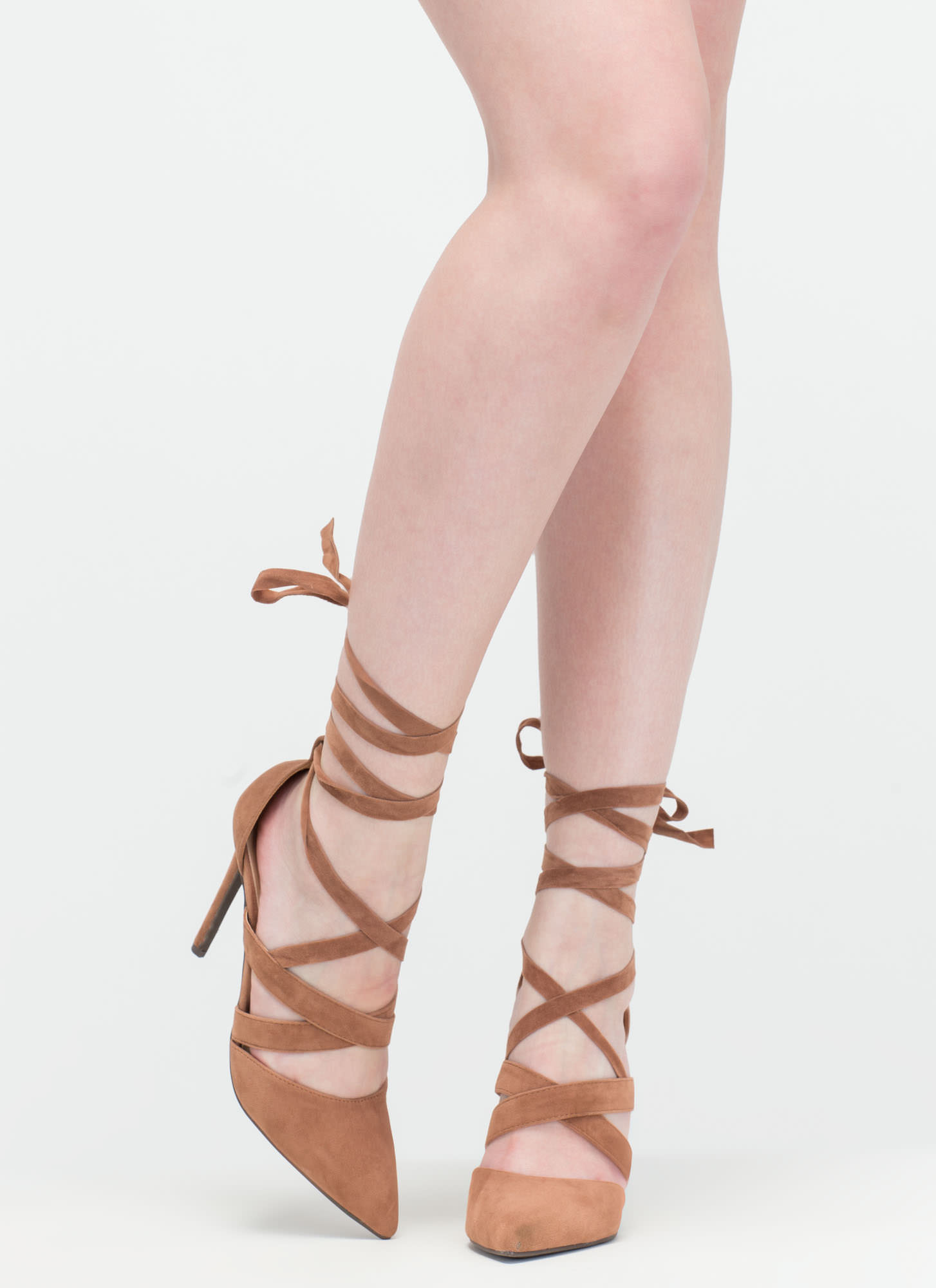 Lace-Up To You Faux Suede Heels CAMEL