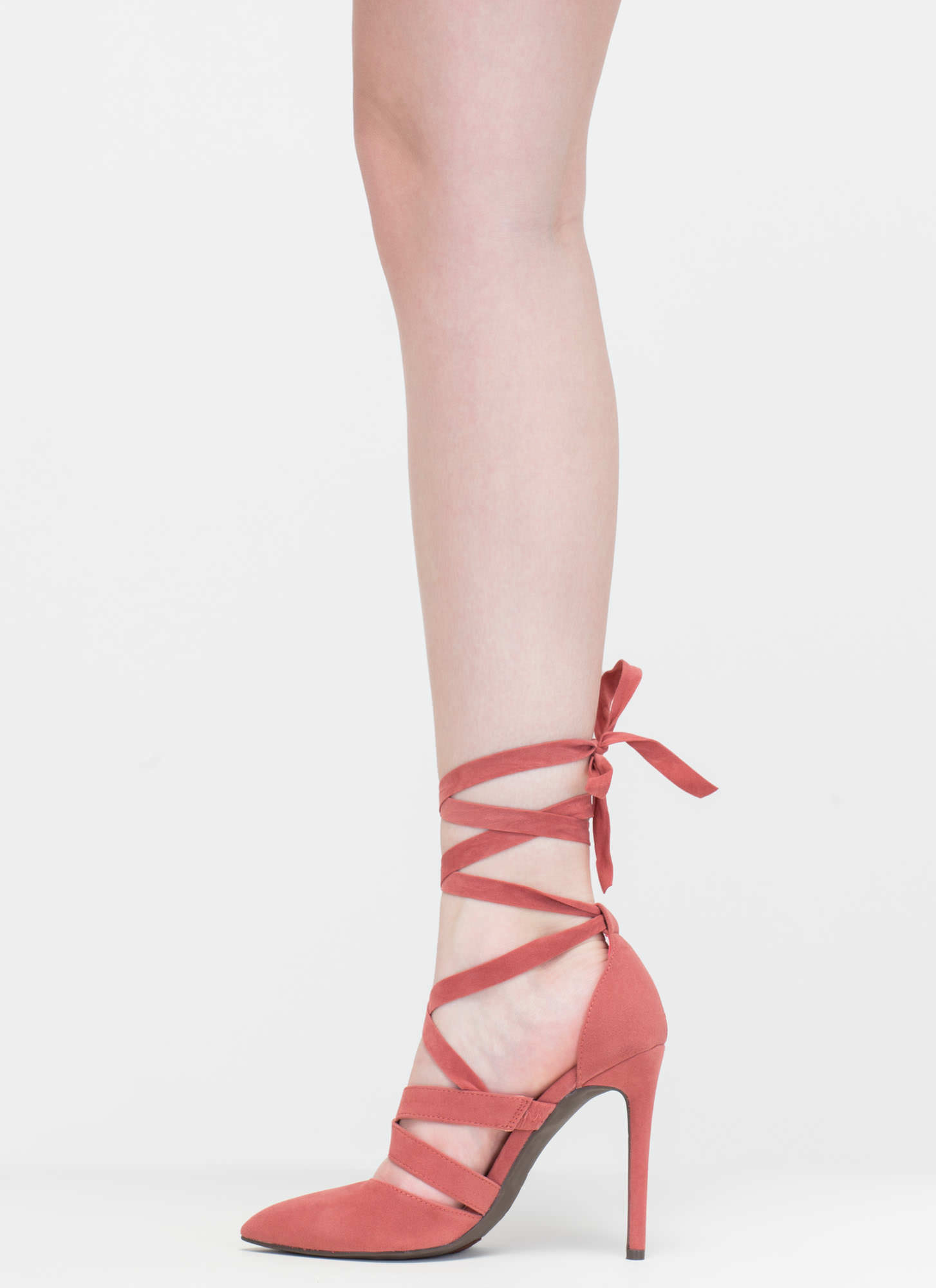Lace-Up To You Faux Suede Heels MAUVE