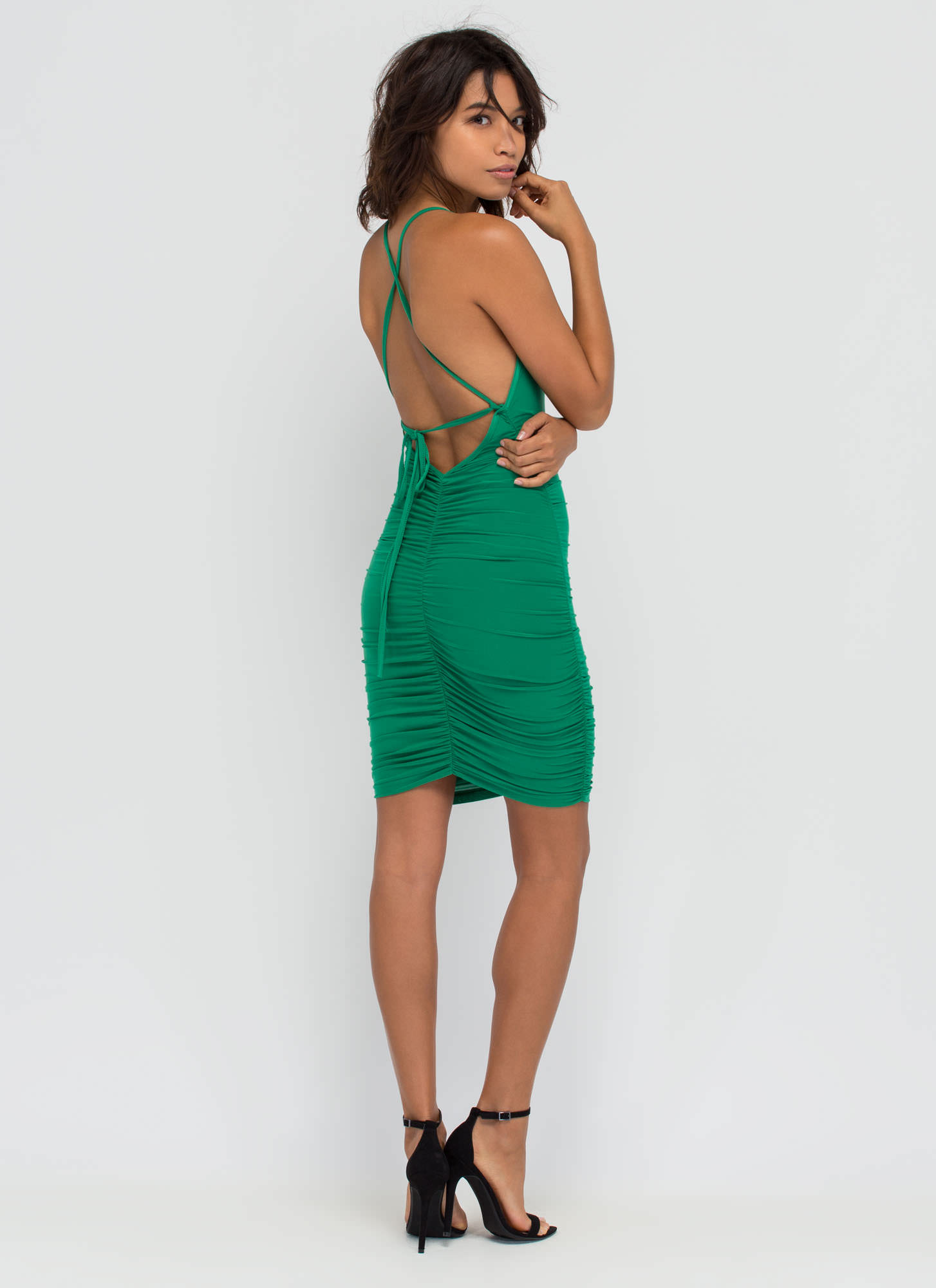 Party Lifestyle Ruched Minidress GREEN