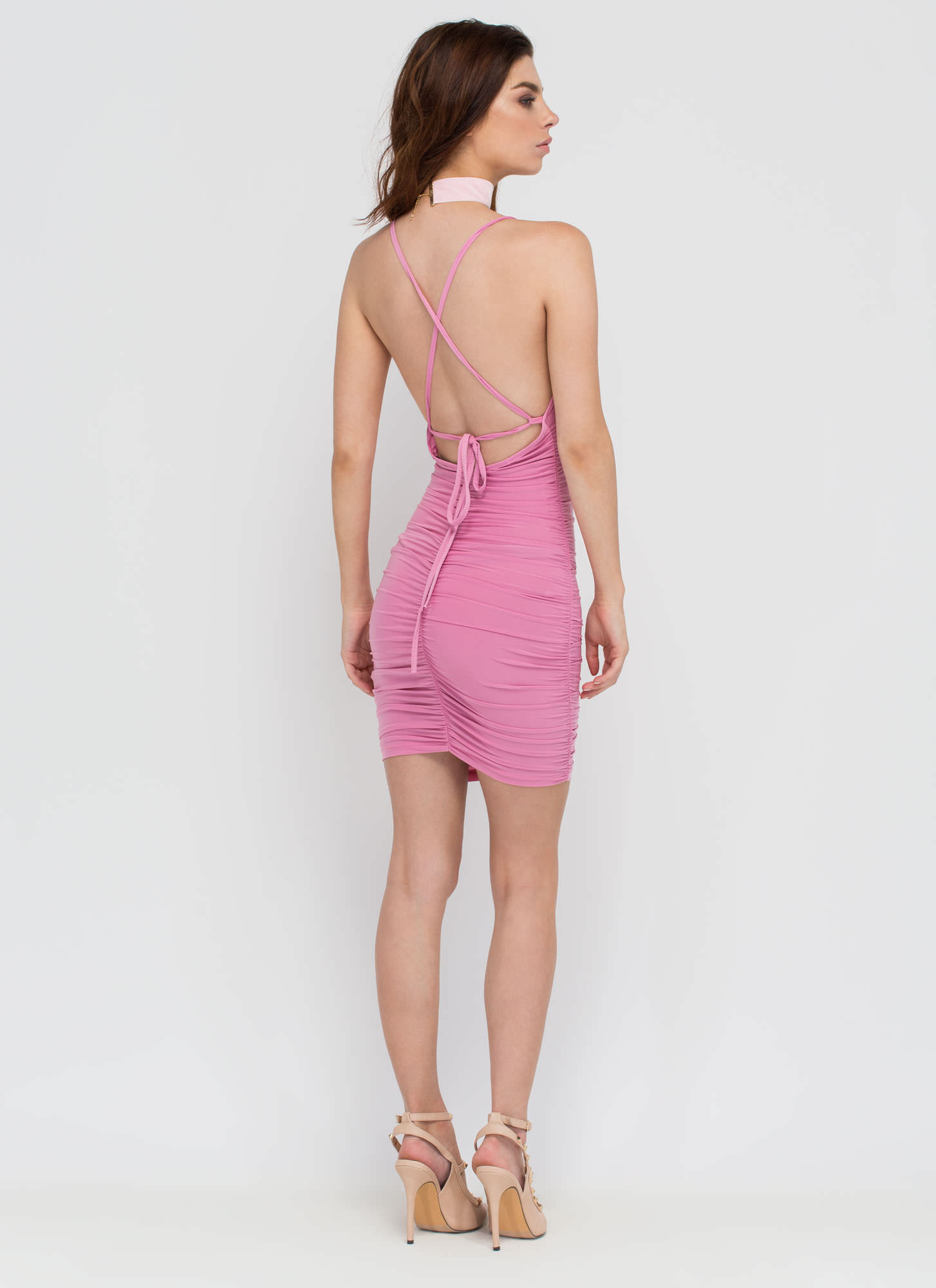 Party Lifestyle Ruched Minidress PINK
