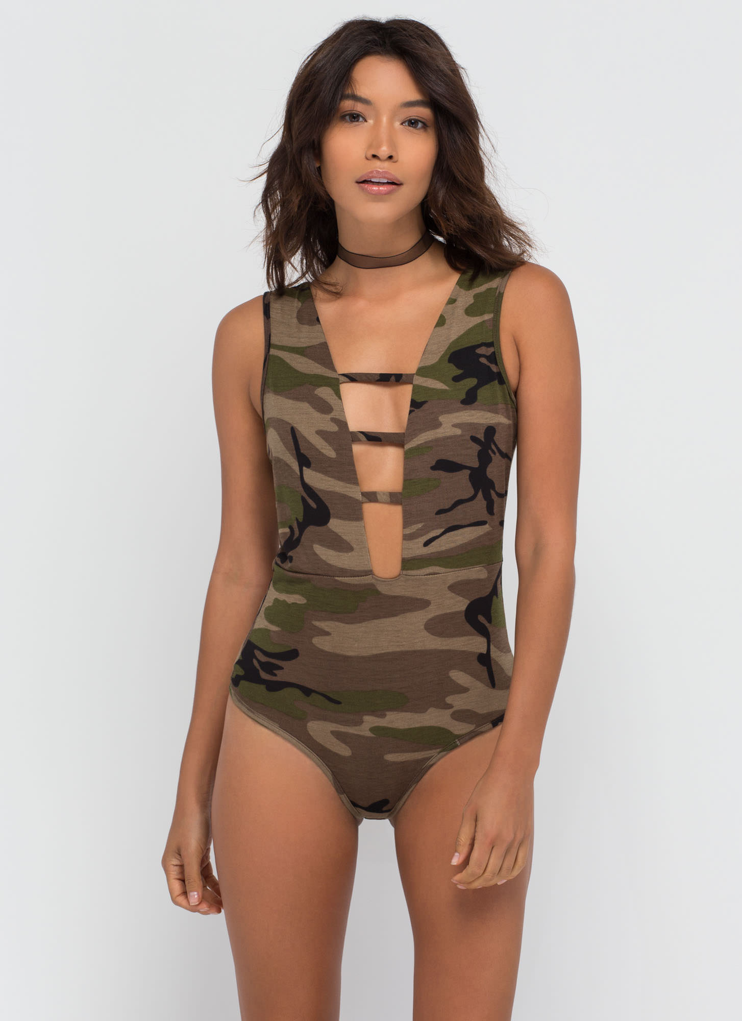Strappy Fighter Plunging Camo Bodysuit CAMOUFLAGE