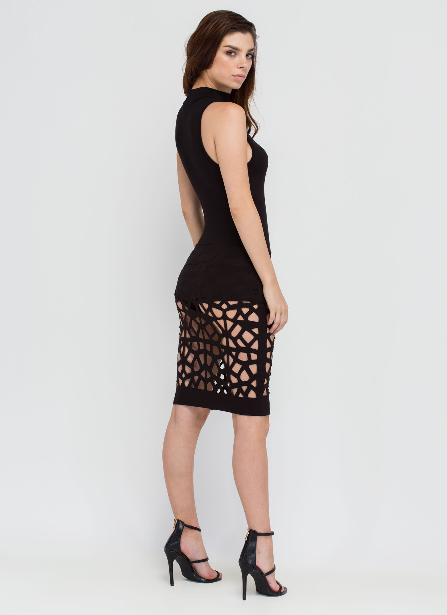 Caught In The Web Cut-Out Bodycon Dress BLACK