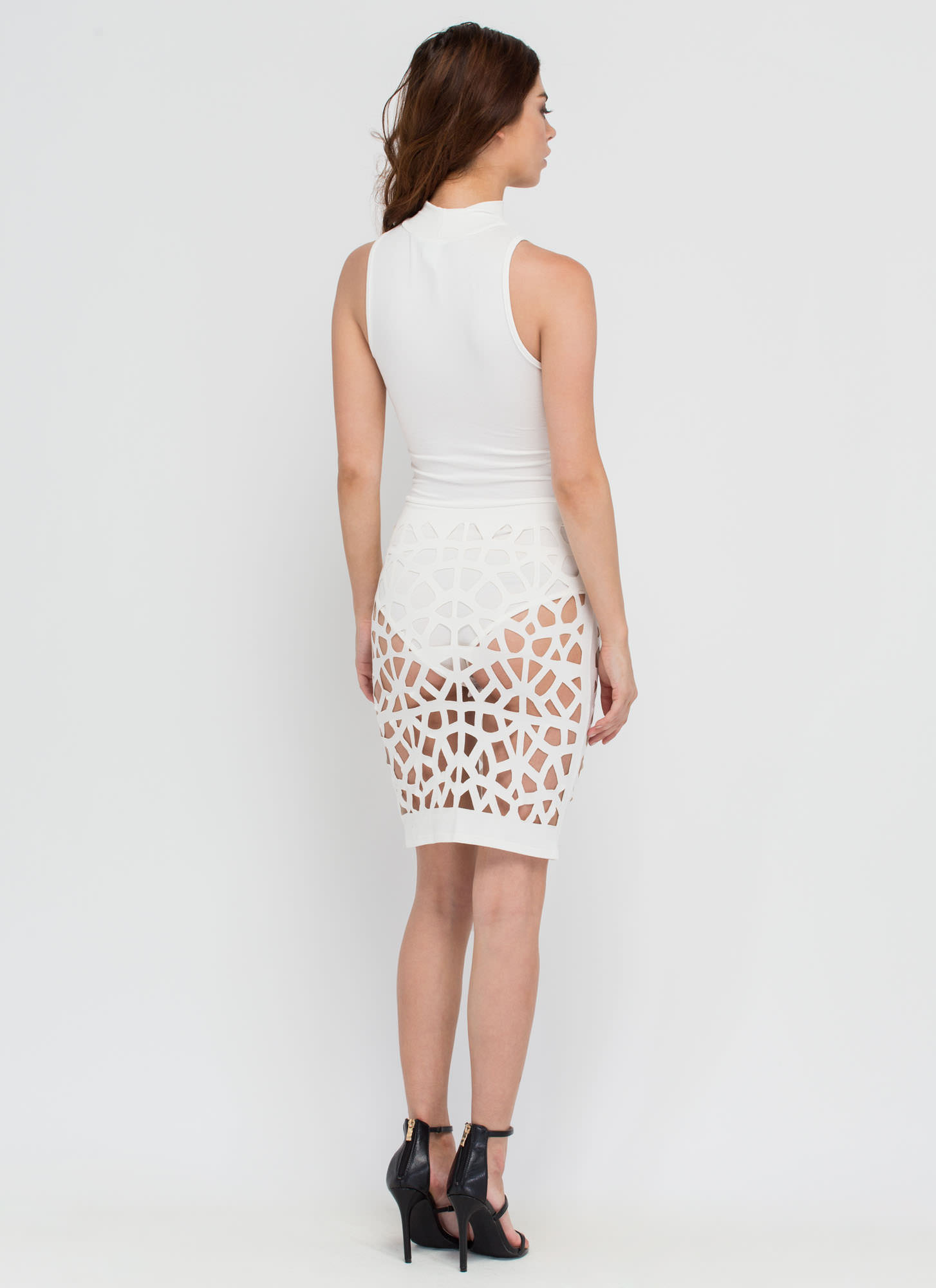 Caught In The Web Cut-Out Bodycon Dress WHITE