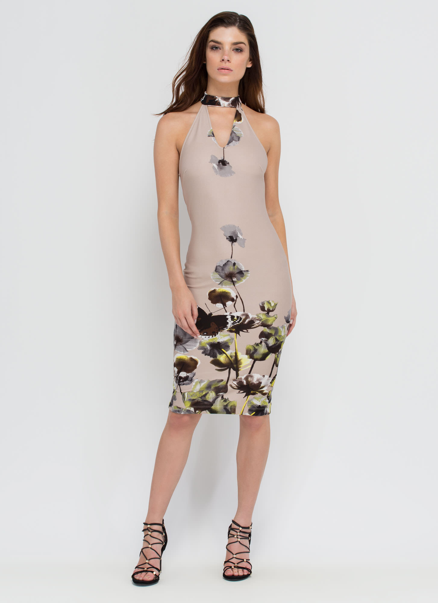 Butterfly Blessing Floral Midi Dress TAUPE