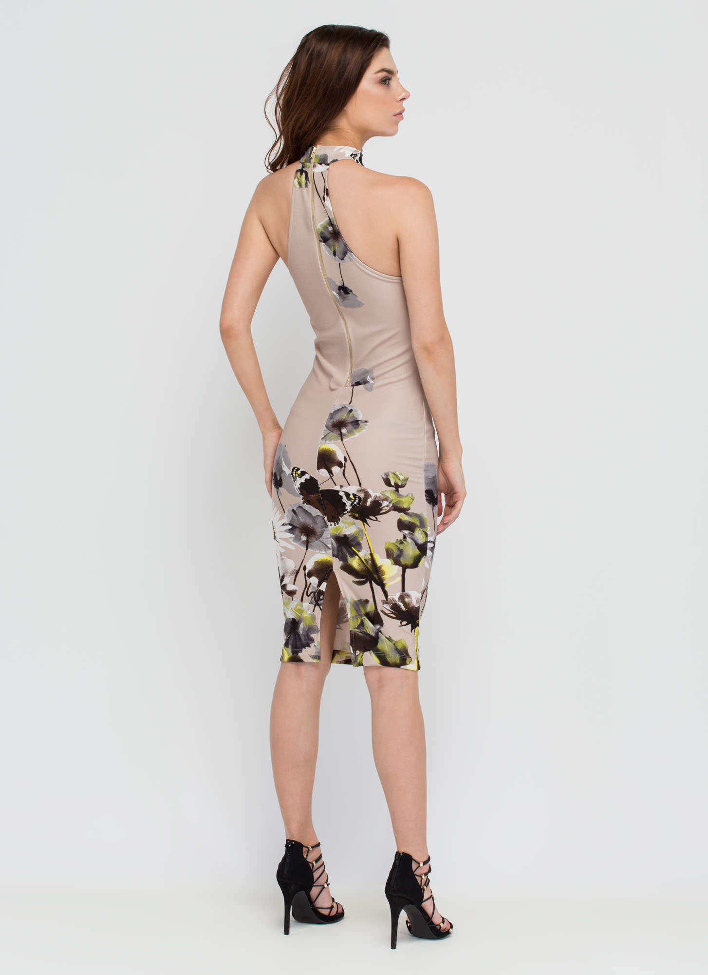 Butterfly Blessing Floral Midi Dress TAUPE (Final Sale)