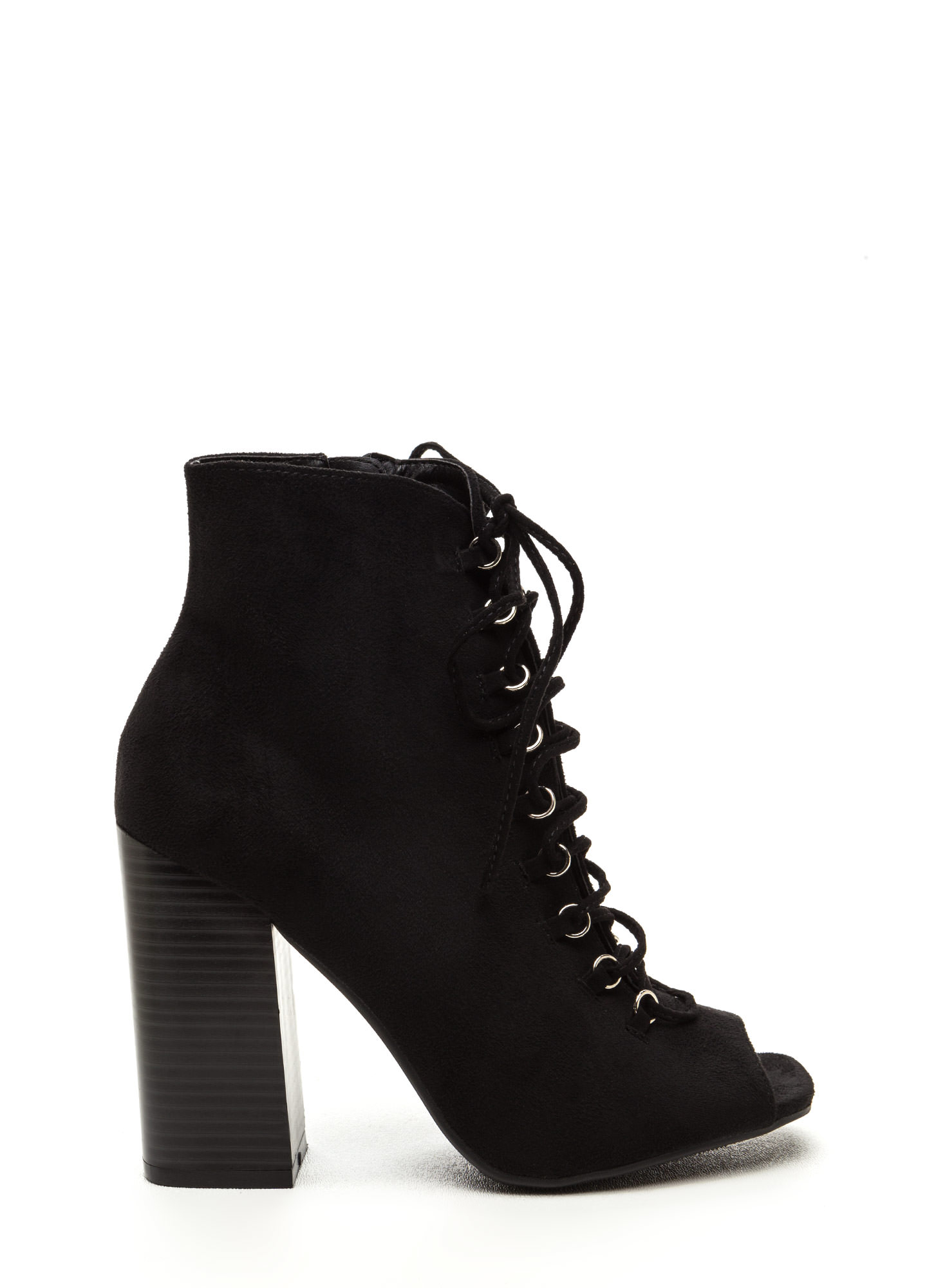 Change Of Pace Lace-Up Peep-Toe Booties BLACK