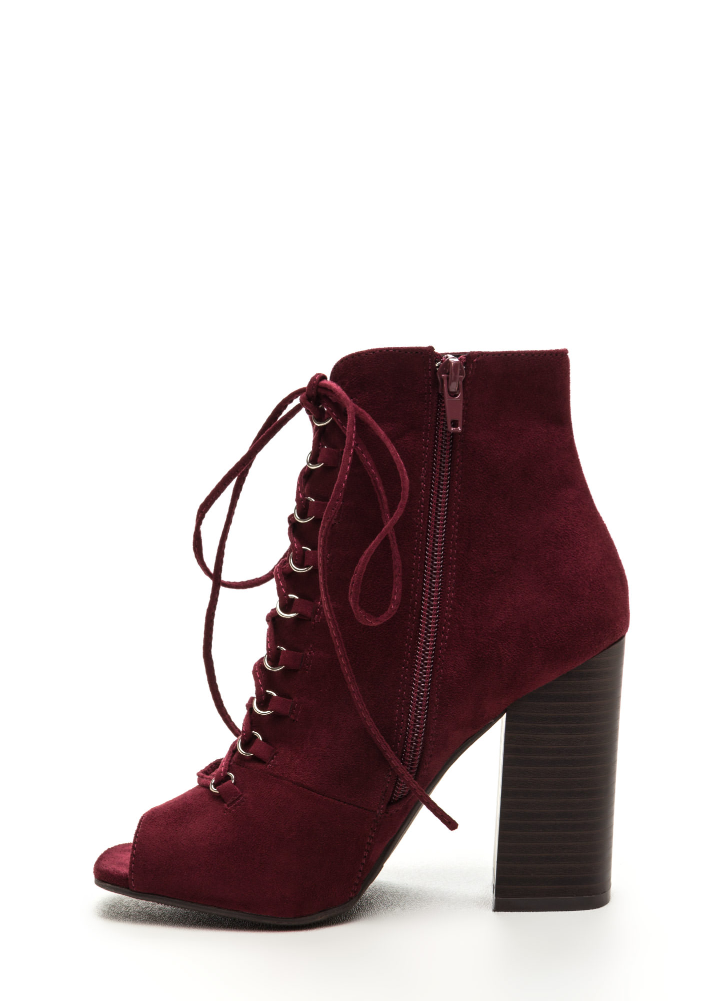 Change Of Pace Lace-Up Peep-Toe Booties BURGUNDY