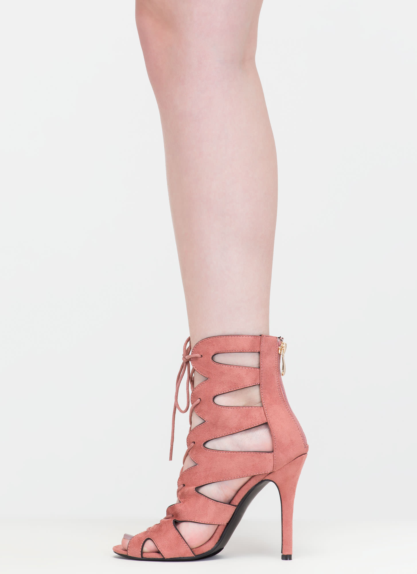 Catwalk Ready Cut-Out Lace-Up Heels BLUSH