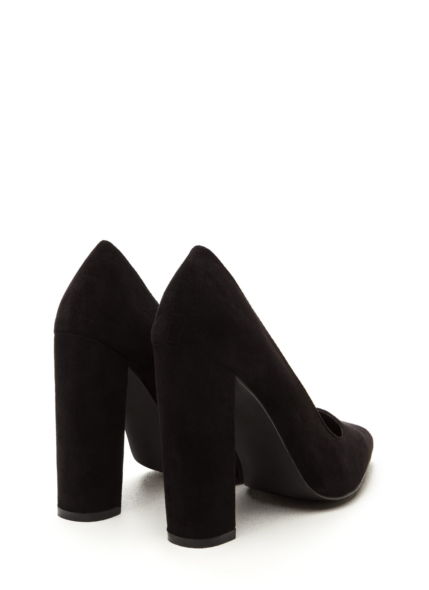 Business Chic Pointy Chunky Heel Pumps BLACK