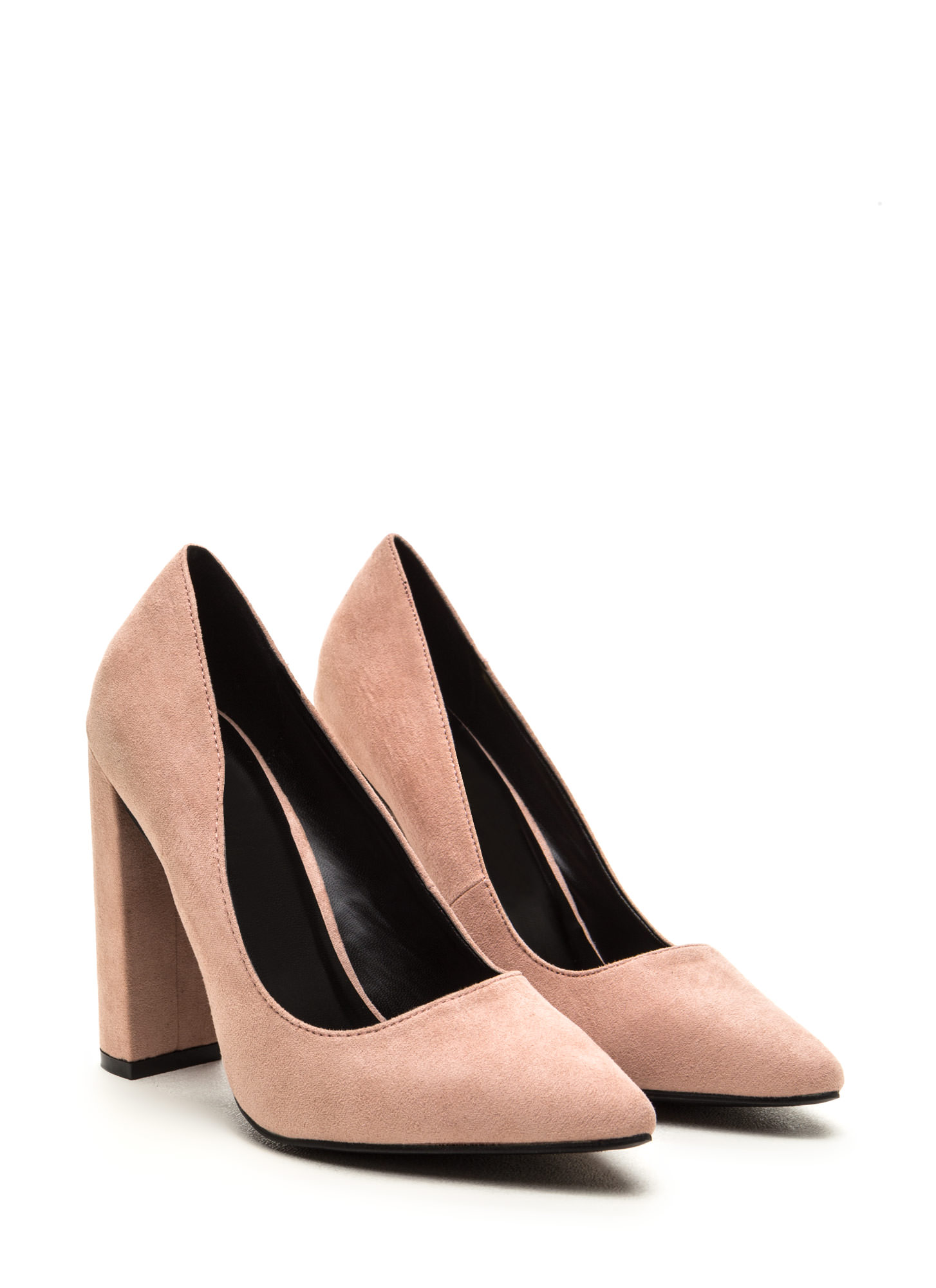 Business Chic Pointy Chunky Heel Pumps BLUSH