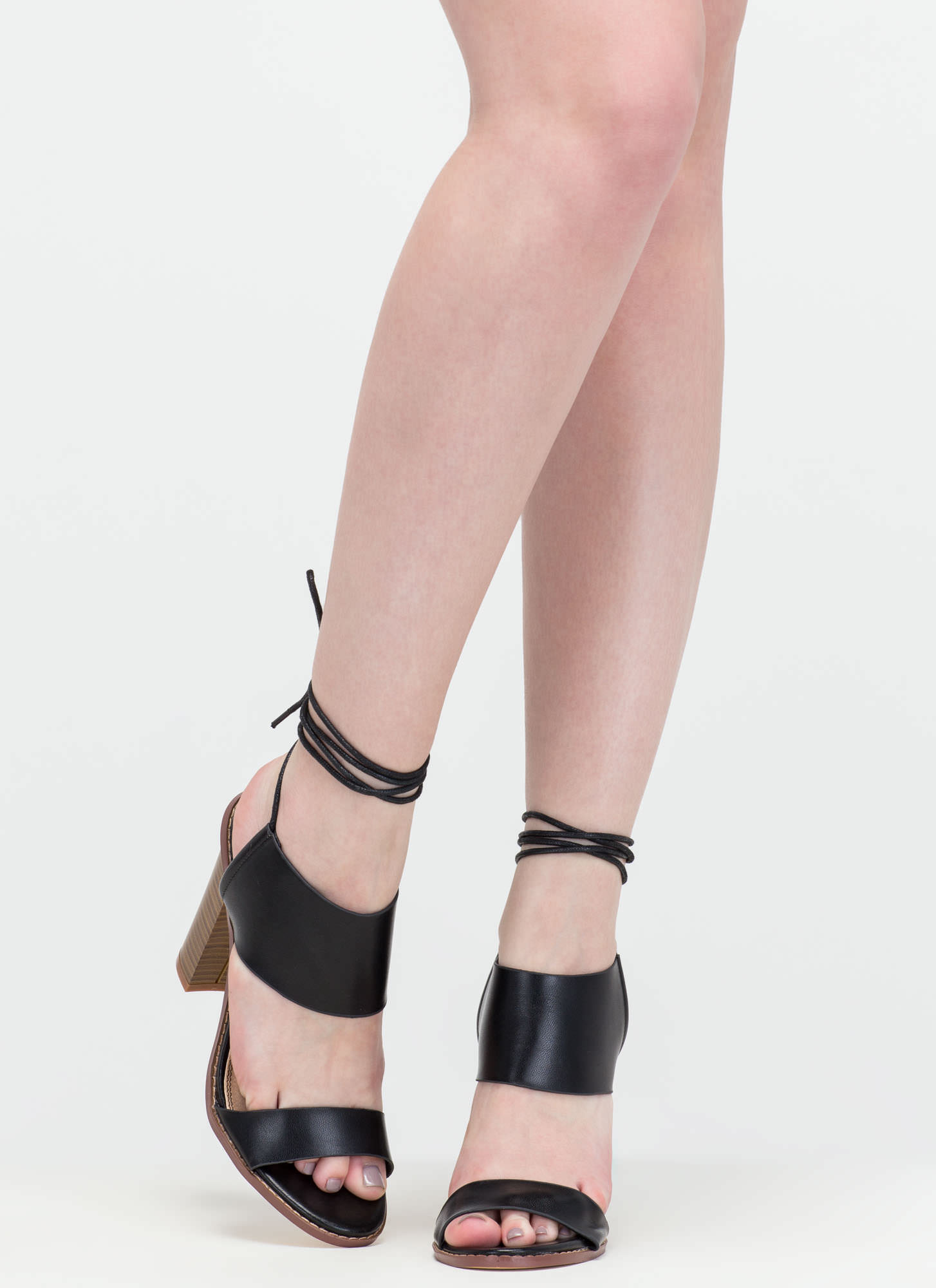 New Junction Faux Leather Chunky Heels BLACK