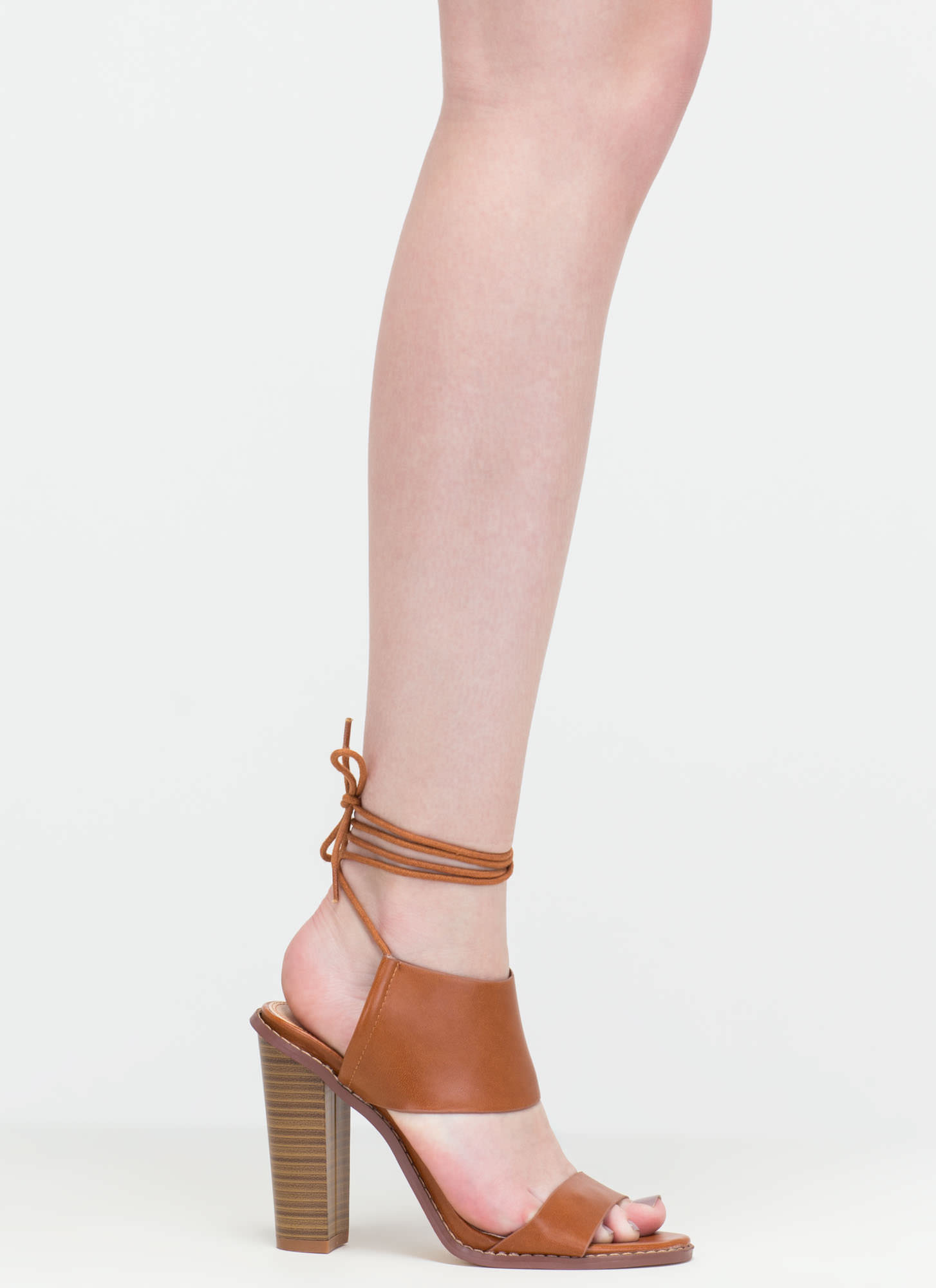 New Junction Faux Leather Chunky Heels COGNAC